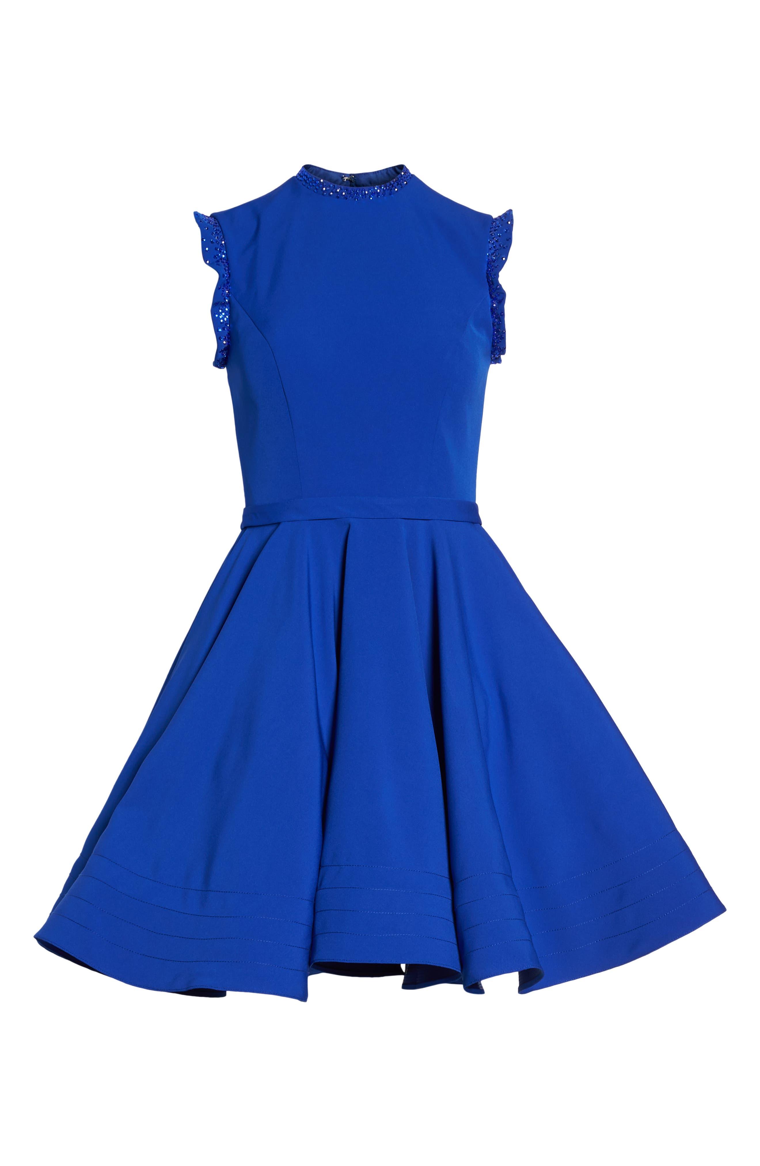 IEENA FOR MAC DUGGAL, Mac Duggal Embellished Ruffle Fit & Flare Dress, Alternate thumbnail 7, color, ROYAL
