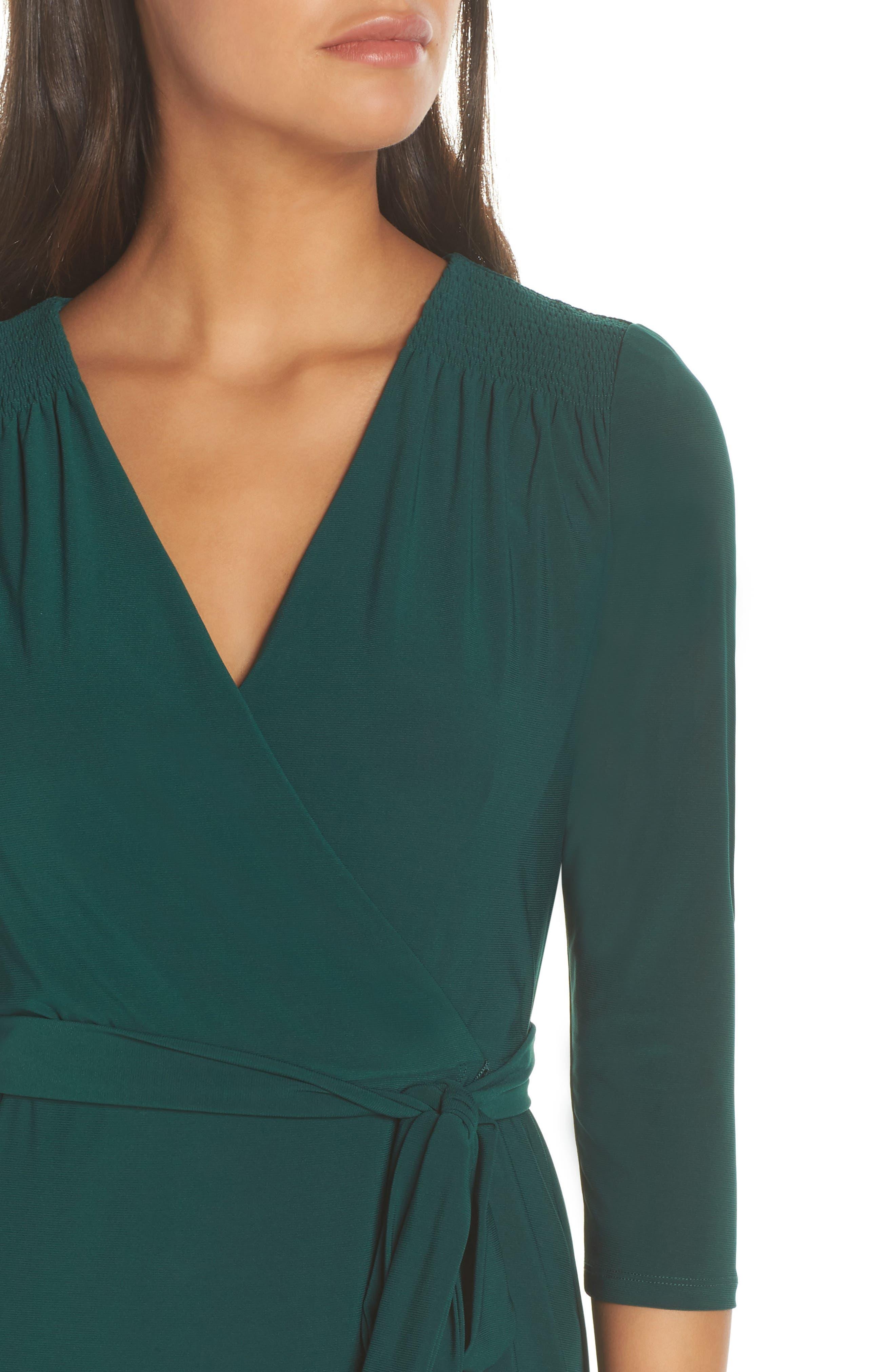 ELIZA J, Smocked Shoulder Wrap Dress, Alternate thumbnail 5, color, 376