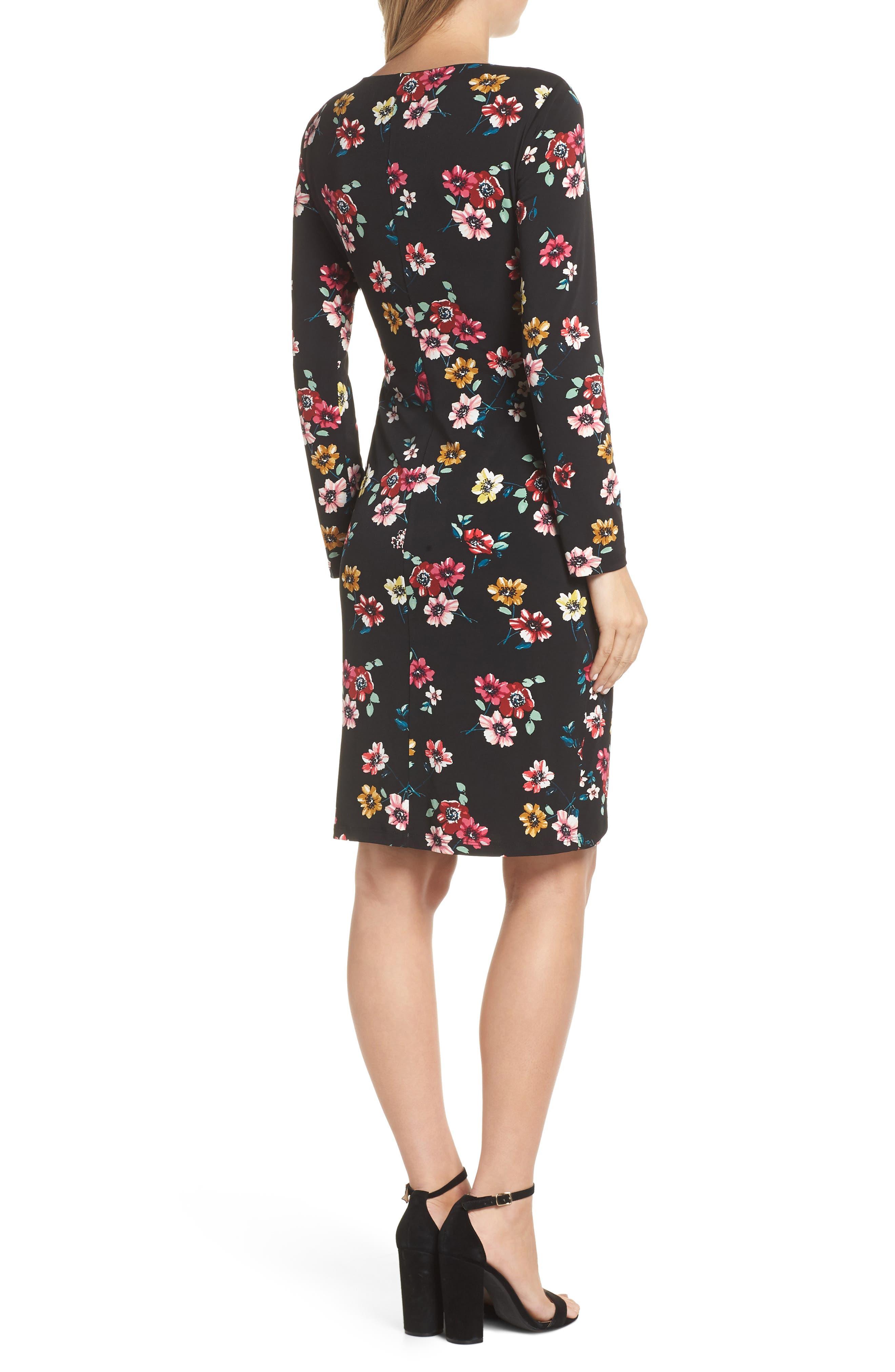 ELIZA J, Floral Sheath Dress, Alternate thumbnail 2, color, 001
