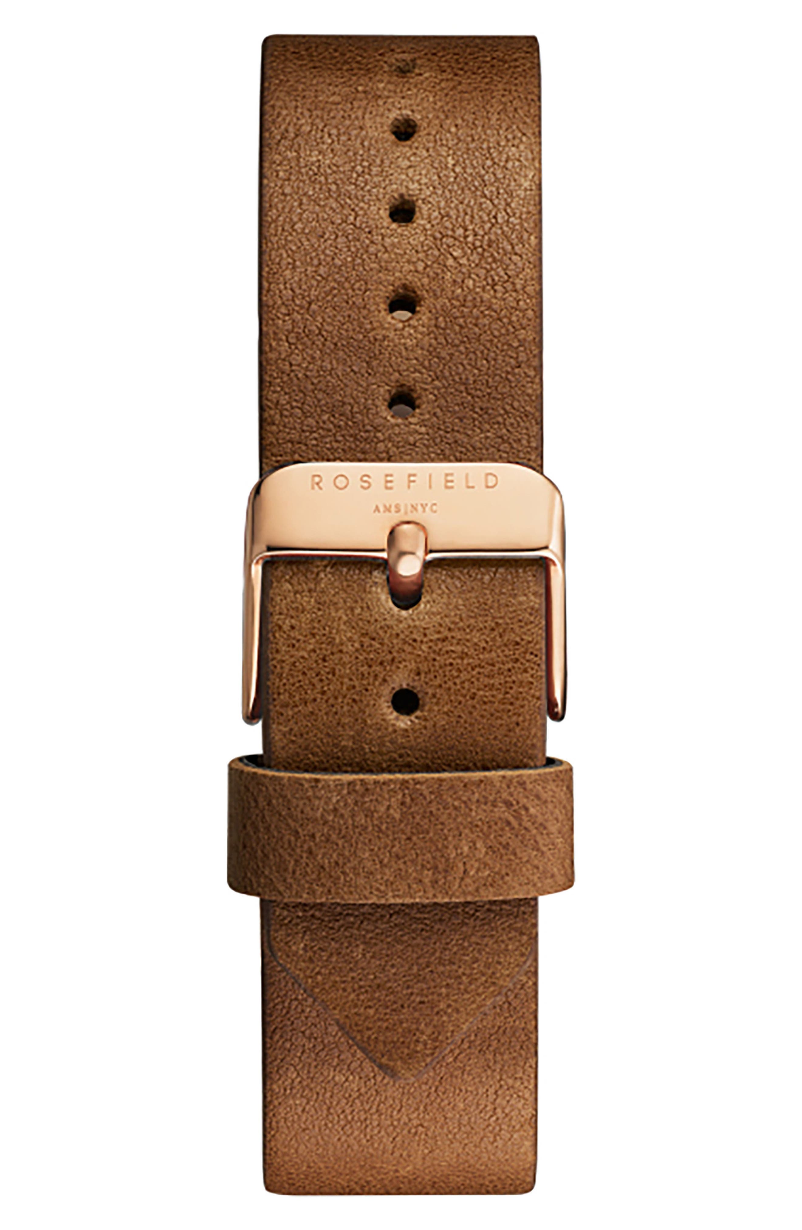 ROSEFIELD, Tribeca Leather Strap Watch, 33mm, Alternate thumbnail 2, color, BROWN/ WHITE/ ROSE GOLD