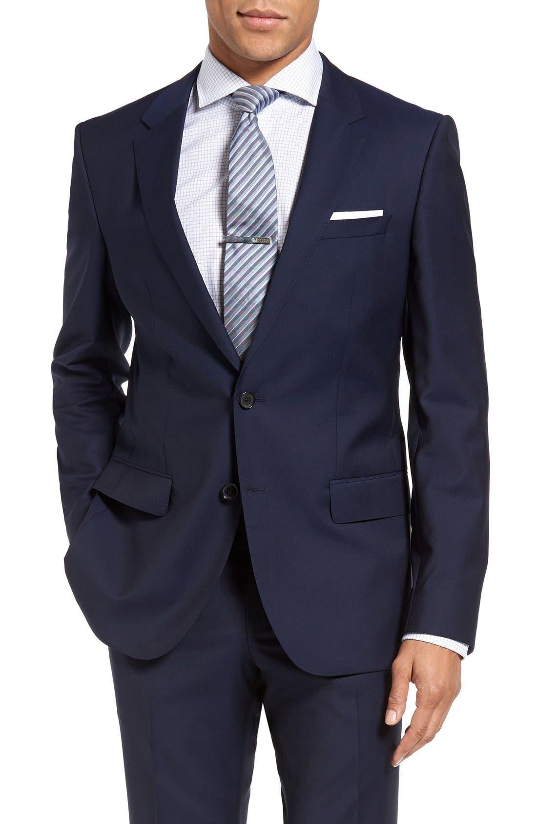 BOSS, Huge/Genius Trim Fit Navy Wool Suit, Alternate thumbnail 4, color, 410