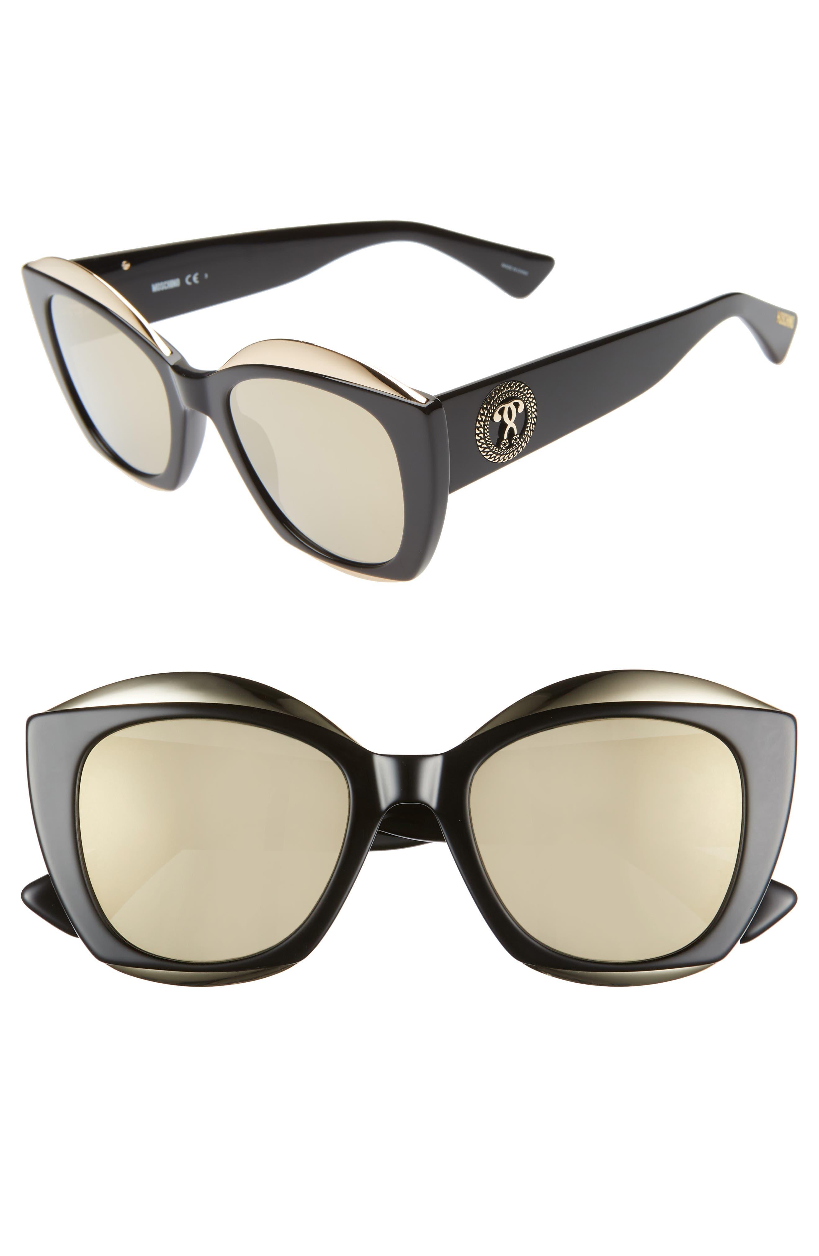 MOSCHINO, 52mm Cat Eye Sunglasses, Main thumbnail 1, color, BLACK