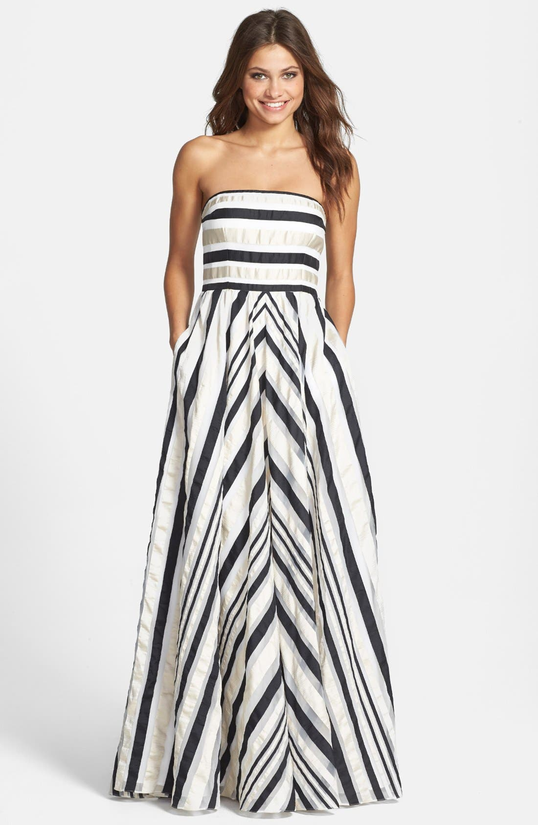 ADRIANNA PAPELL Ribbon Stripe Strapless Dress, Main, color, 001