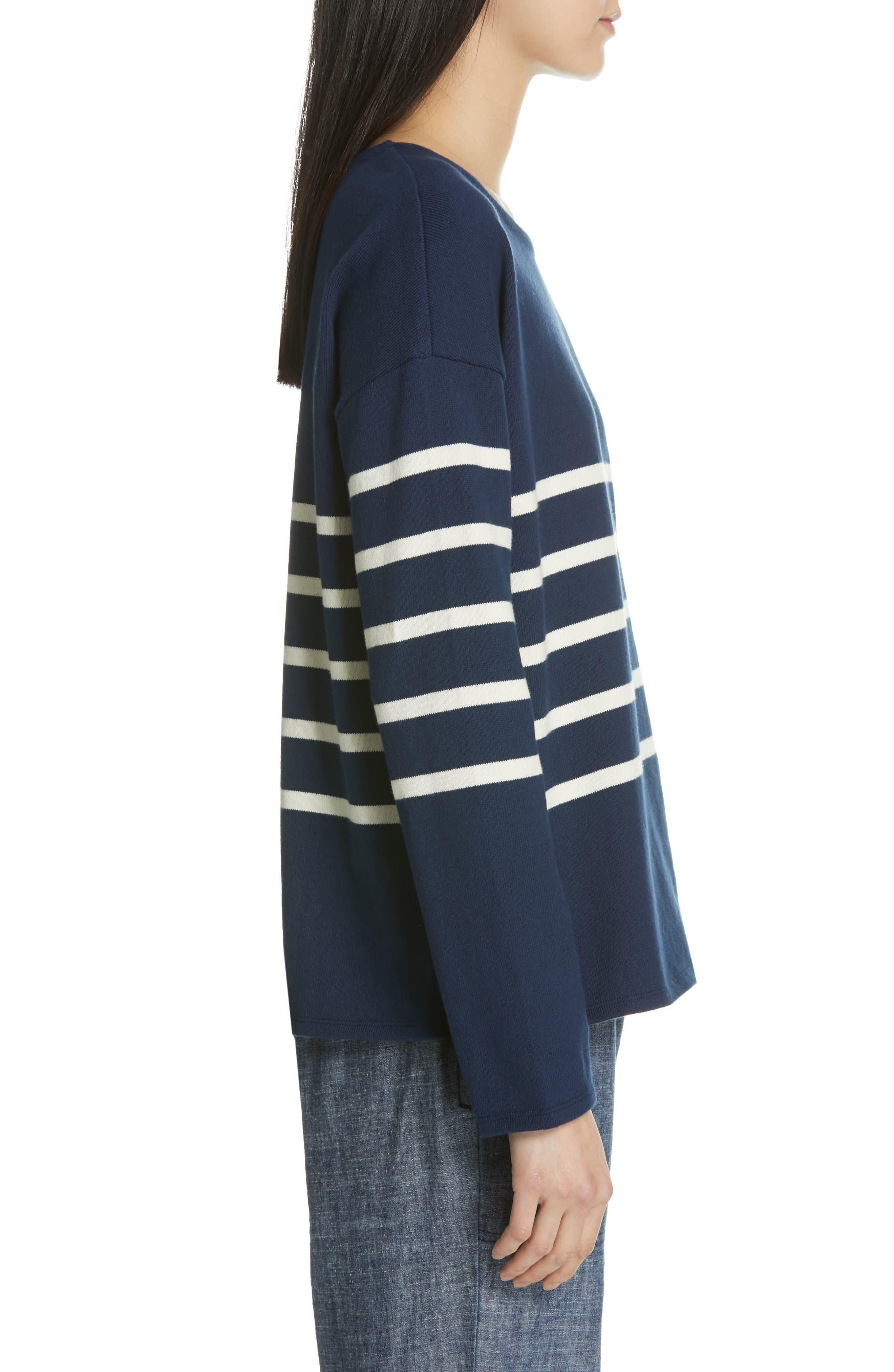 EILEEN FISHER, Stripe Organic Cotton Sweater, Alternate thumbnail 3, color, DENIM
