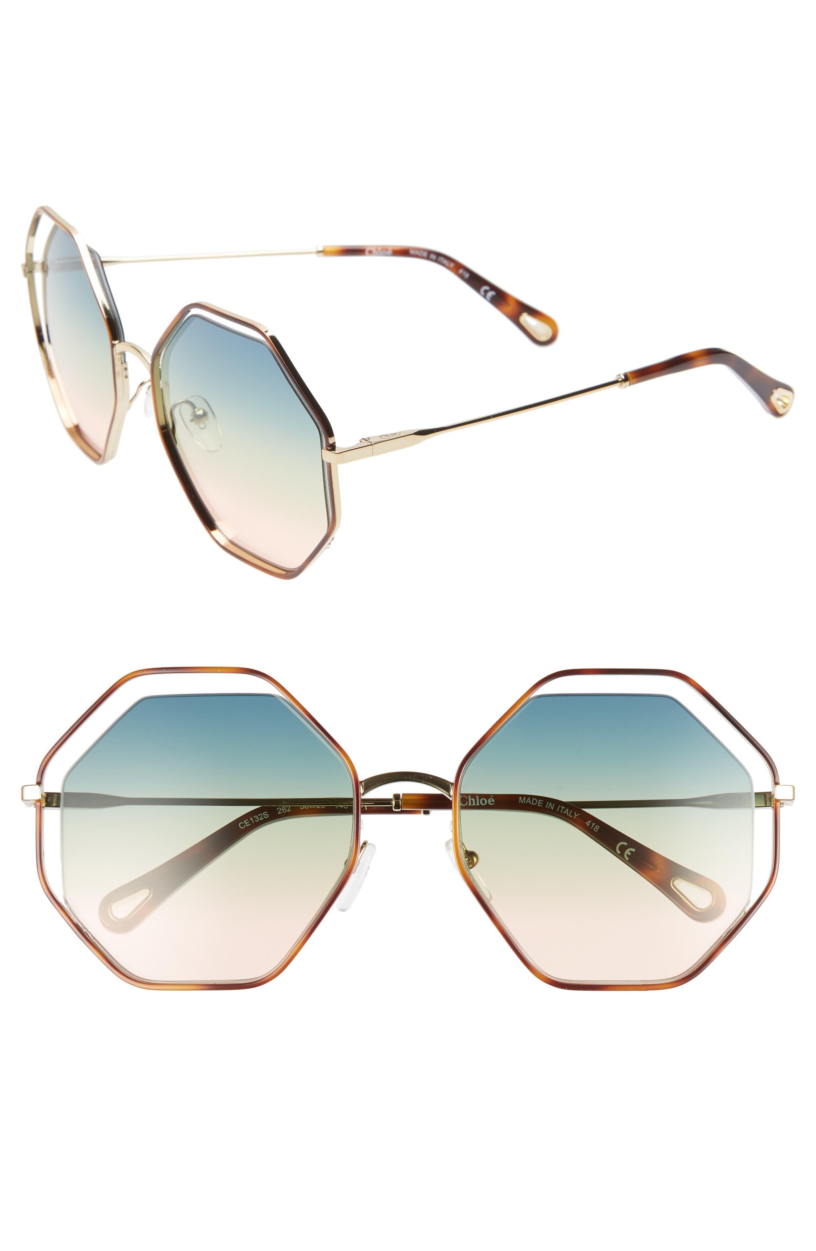 CHLOÉ 58mm Octagonal Halo Lens Sunglasses, Main, color, HAVANA/ GRADIENT BLUE