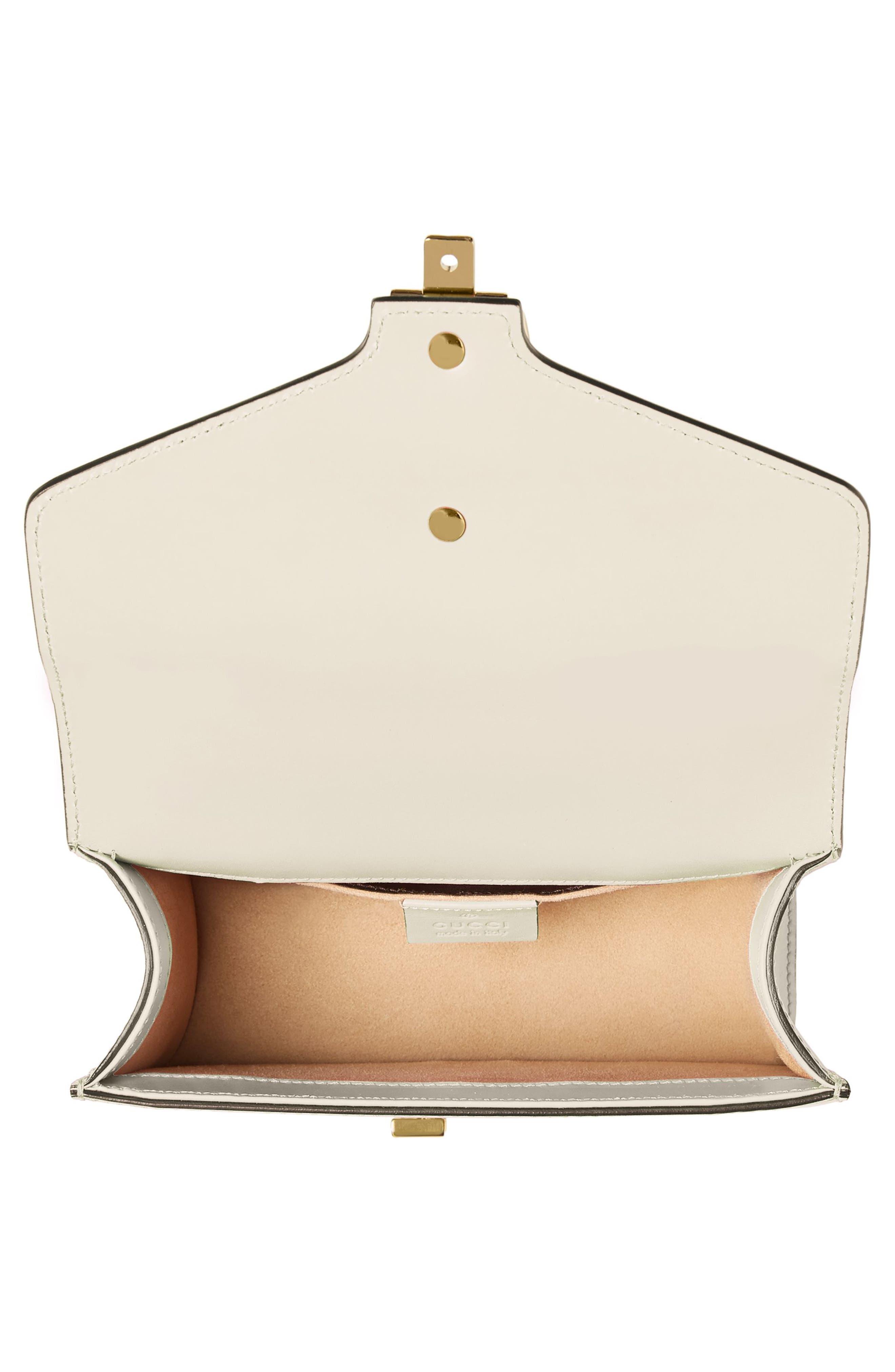 GUCCI, Mini Sylvie Leather Shoulder Bag, Alternate thumbnail 3, color, WHITE/ BLUE/ HIBISCUS RED