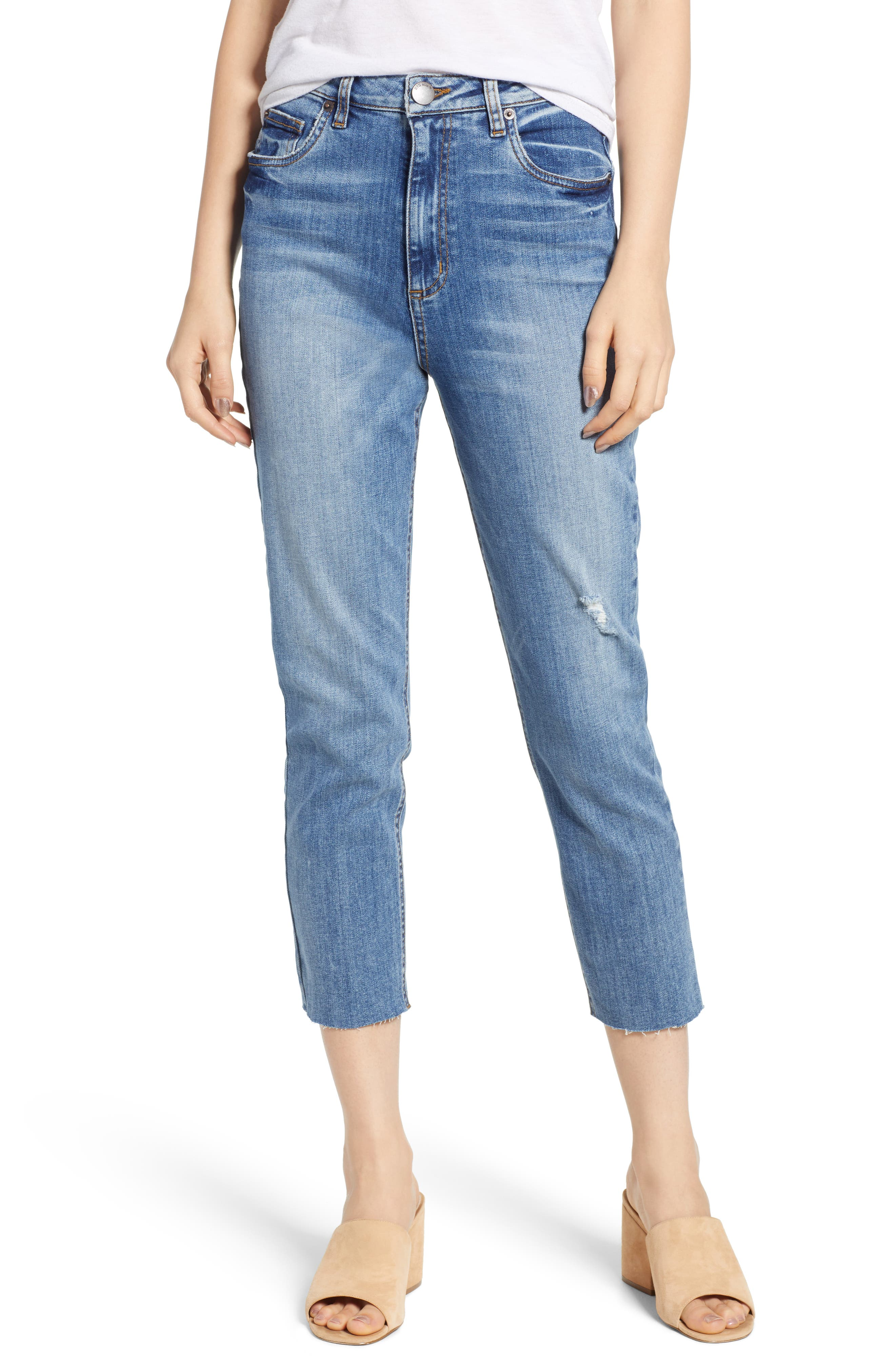 STS BLUE, Alicia High Waist Crop Mom Jeans, Main thumbnail 1, color, PROCTOR