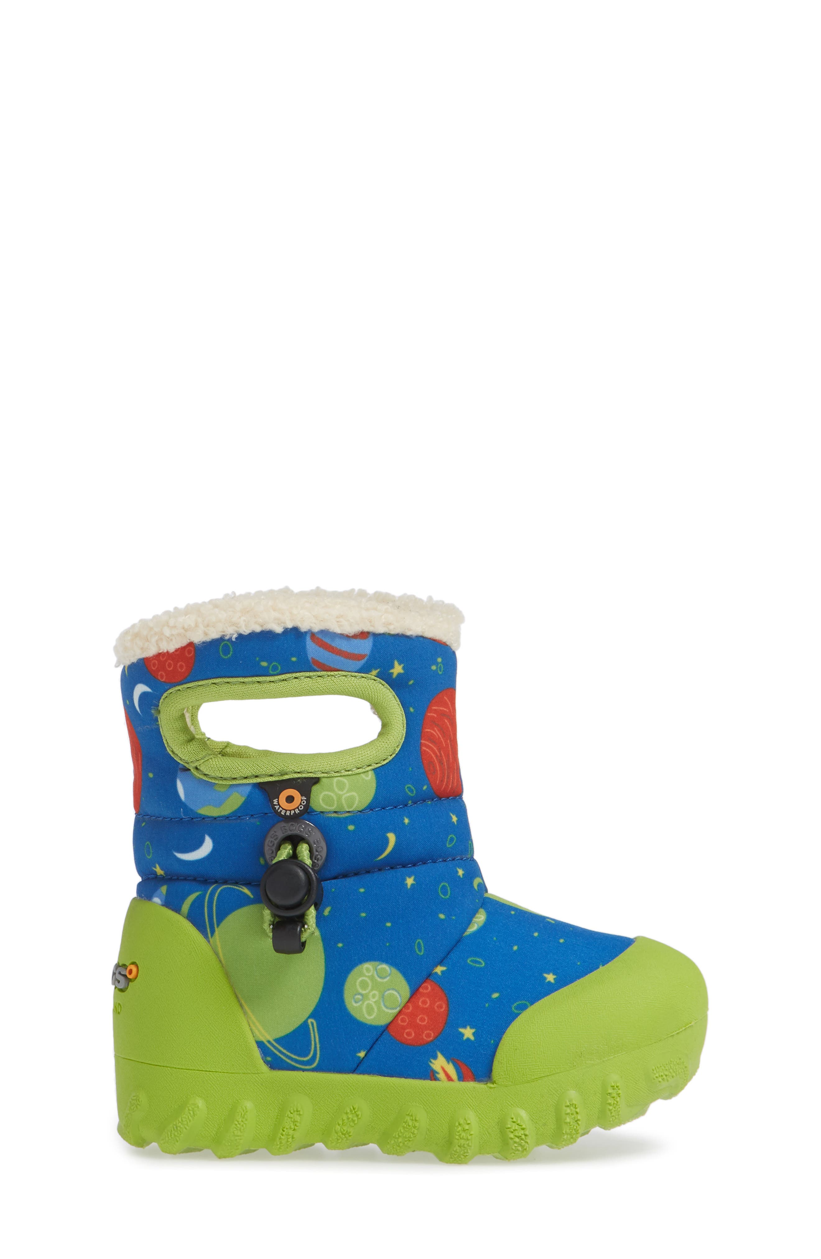 BOGS, B-MOC Space Waterproof Insulated Faux Fur Boot, Alternate thumbnail 3, color, BLUE MULTI
