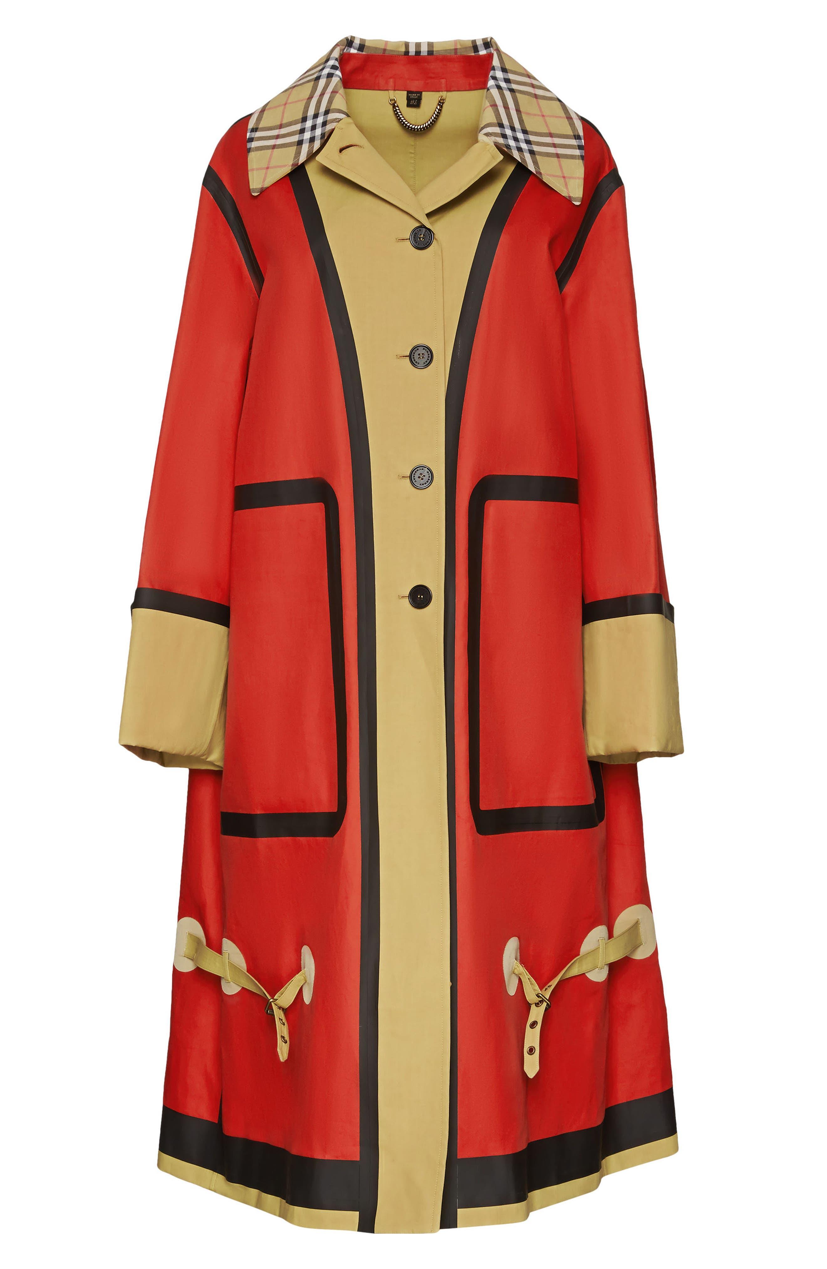 BURBERRY, Colorblock Cotton Car Coat, Alternate thumbnail 5, color, 600