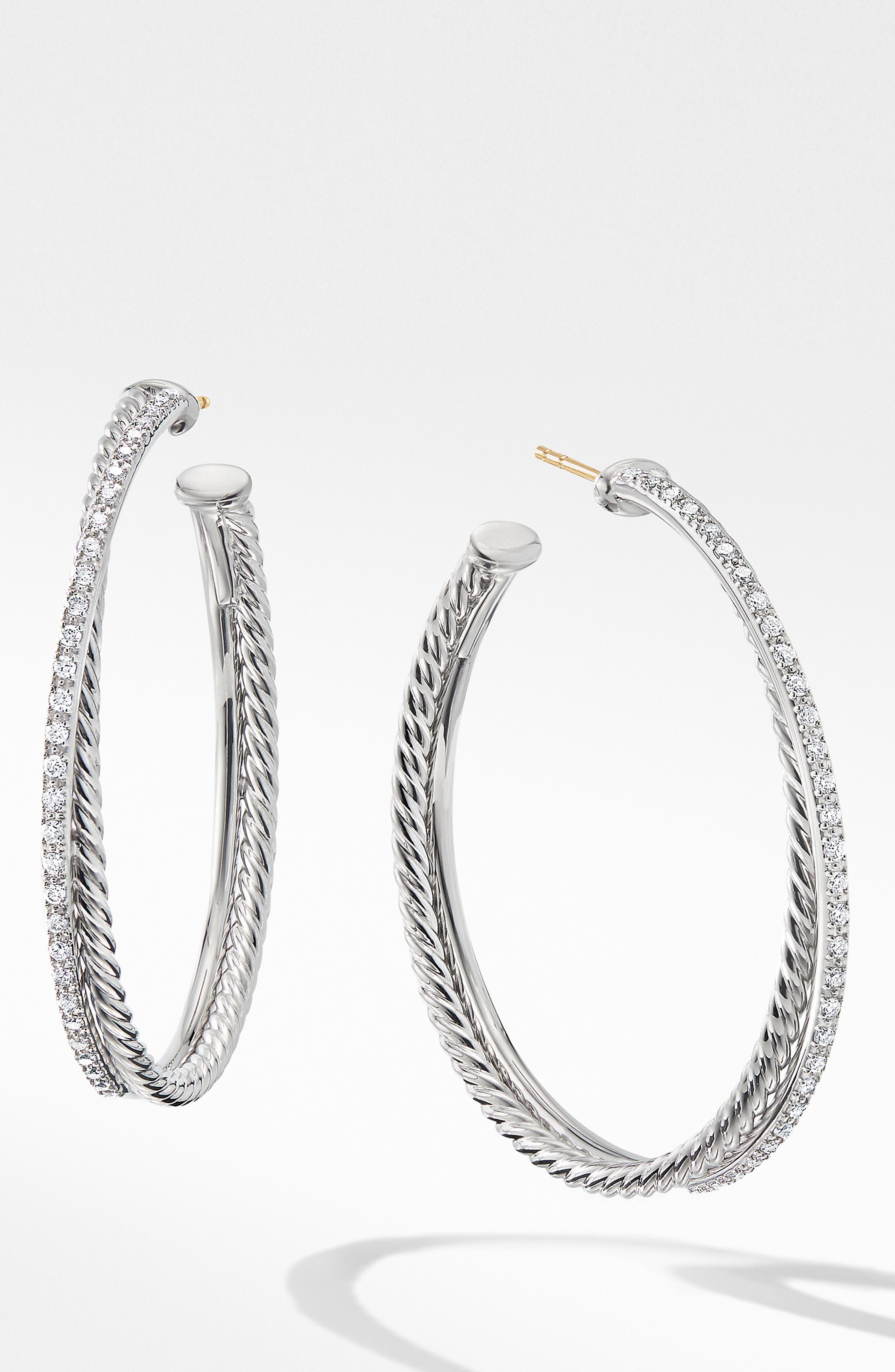 DAVID YURMAN, Extra Large Crossover Hoop Earrings with Diamonds, Main thumbnail 1, color, SILVER/ DIAMOND