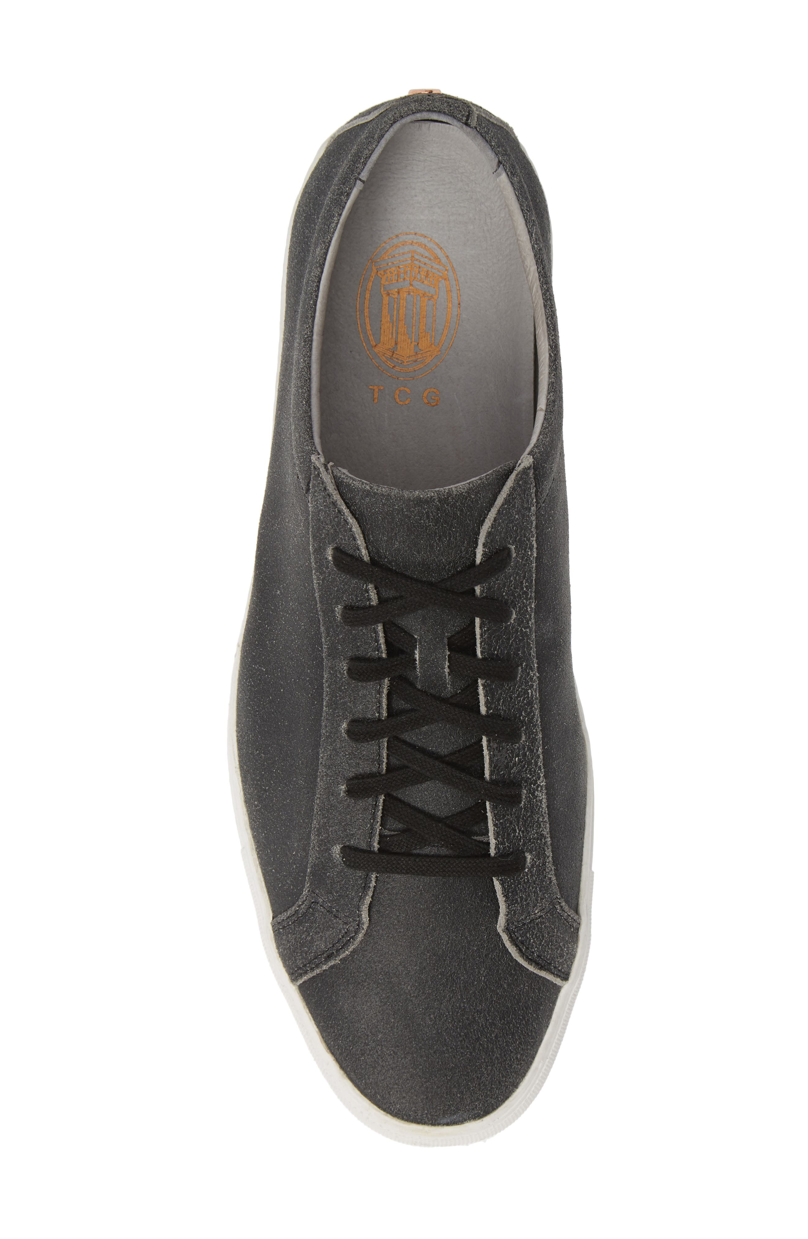 TCG, Kennedy Low Top Sneaker, Alternate thumbnail 5, color, CRACKED BLACK LEATHER