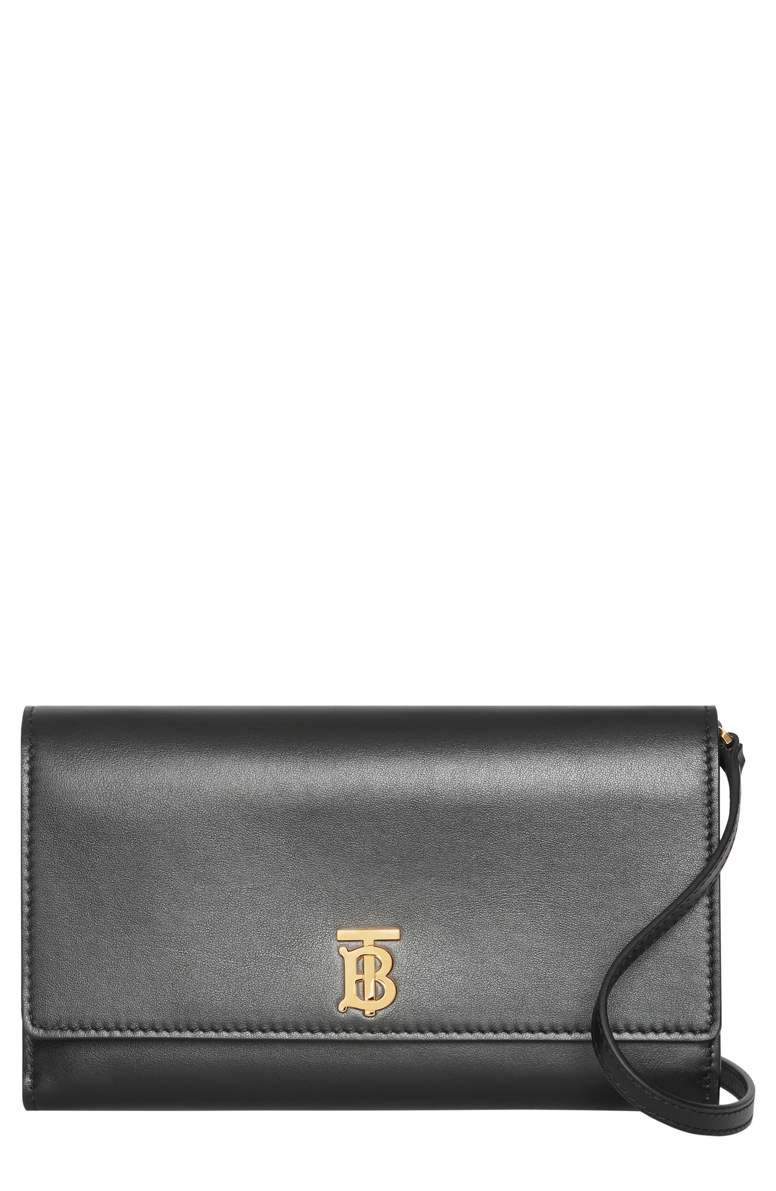 BURBERRY, Hazelmere Leather Crossbody Wallet, Main thumbnail 1, color, BLACK