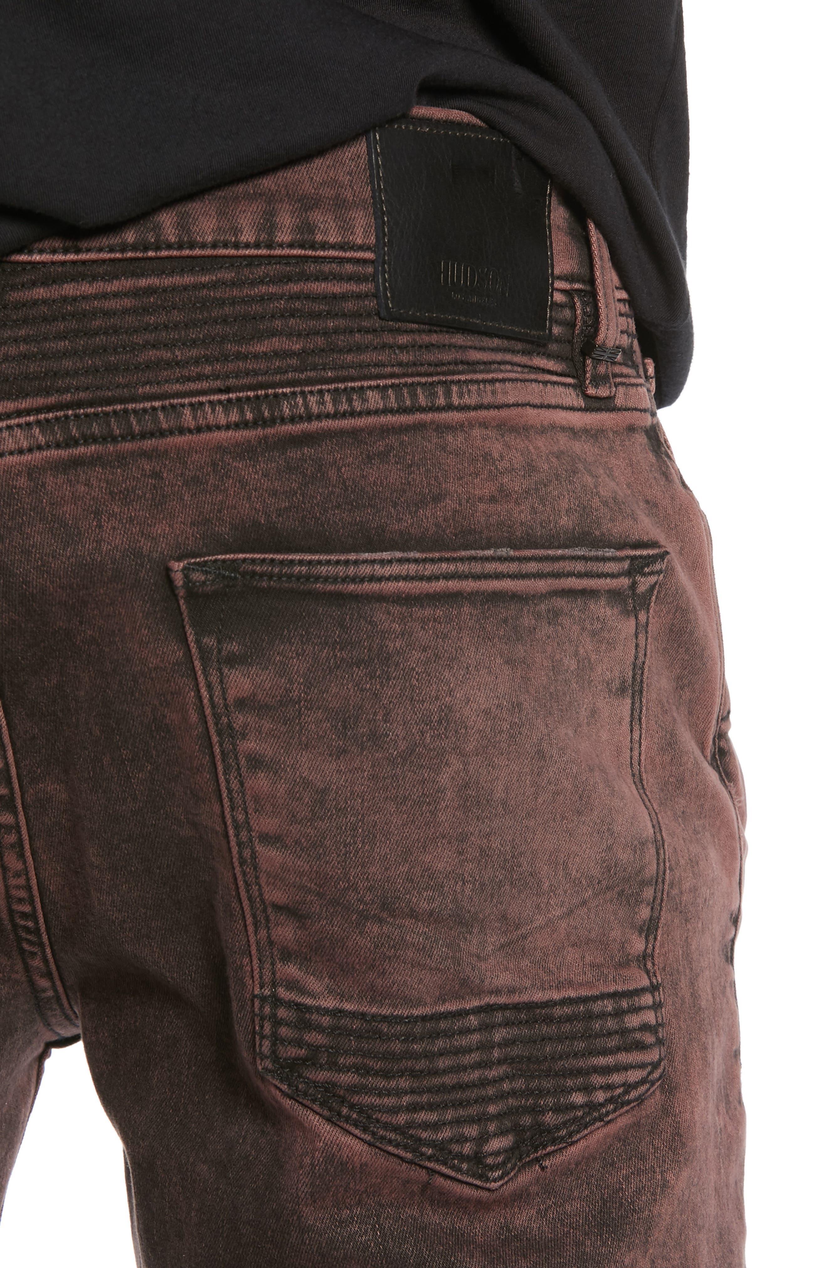 HUDSON JEANS, Blinder Biker Skinny Fit Jeans, Alternate thumbnail 4, color, FADED OX BLOOD