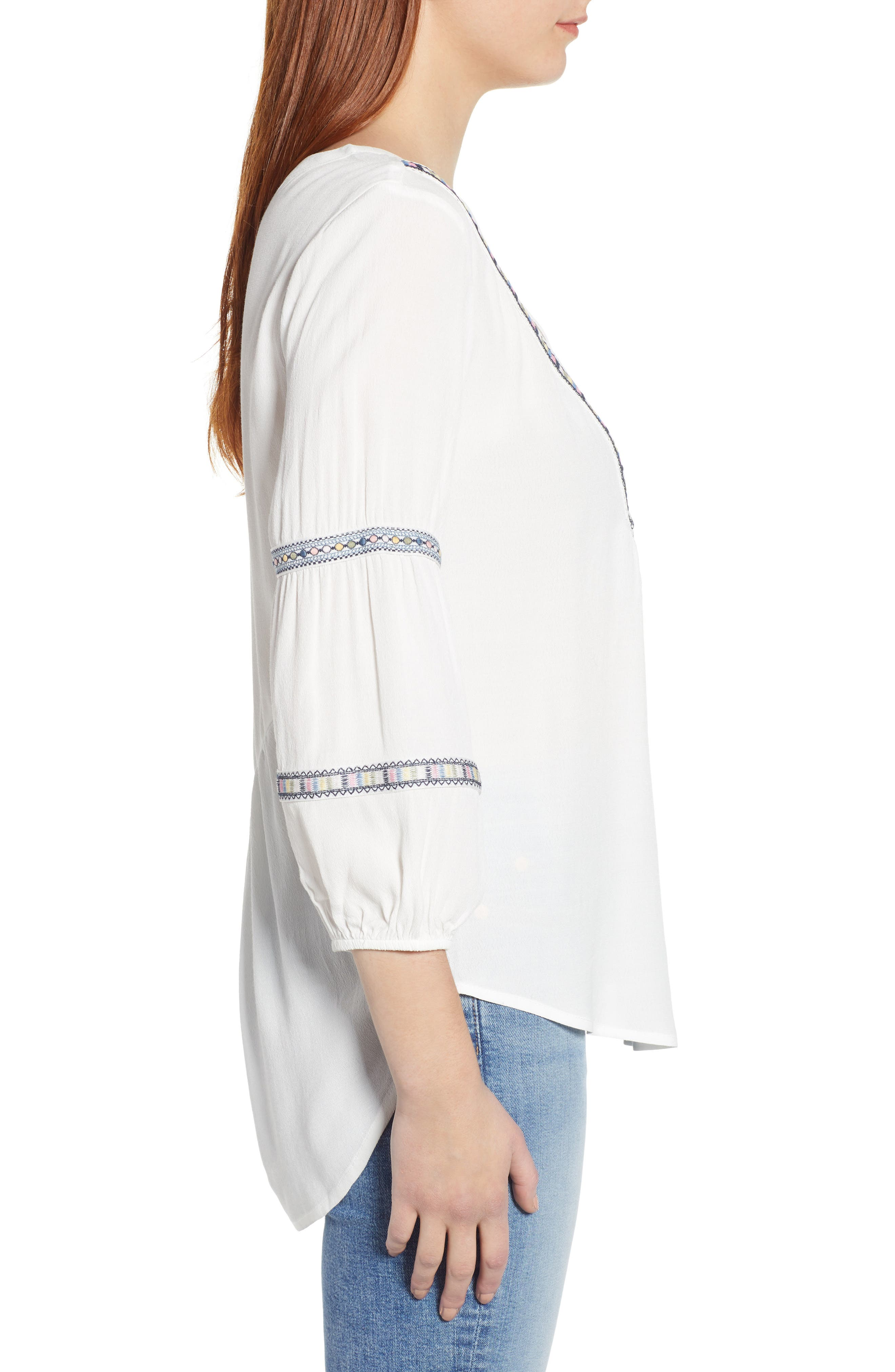 WIT & WISDOM, Embroidered Tunic, Alternate thumbnail 3, color, OFF WHITE