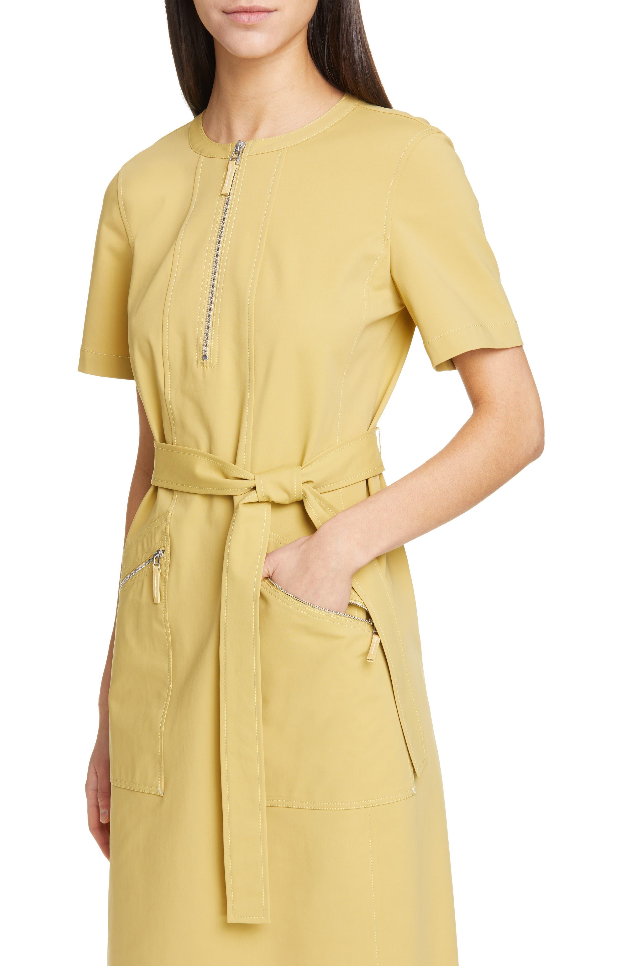 LAFAYETTE 148 NEW YORK, Elizabella Belted Dress, Alternate thumbnail 6, color, GREEN TEA