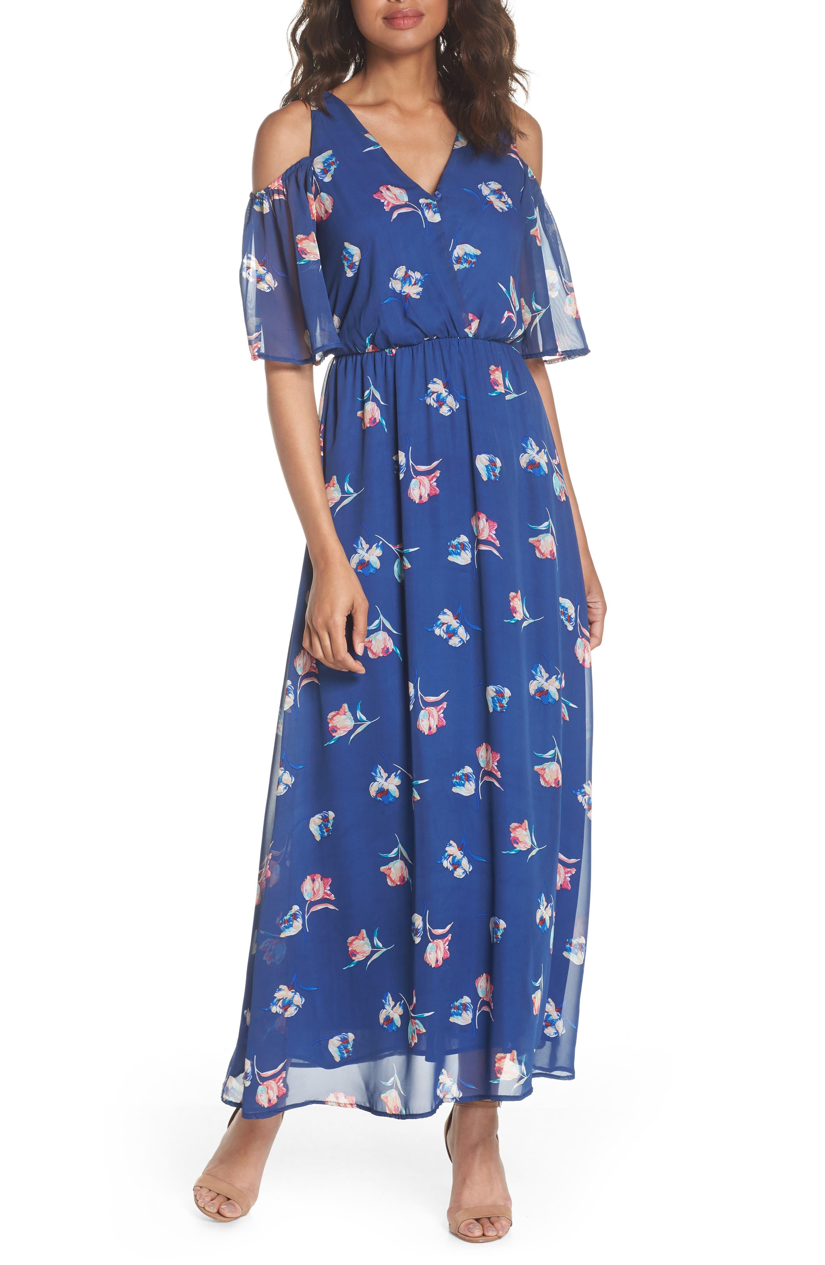 FRAICHE BY J Cold Shoulder Maxi Dress, Main, color, CASSY BLUE