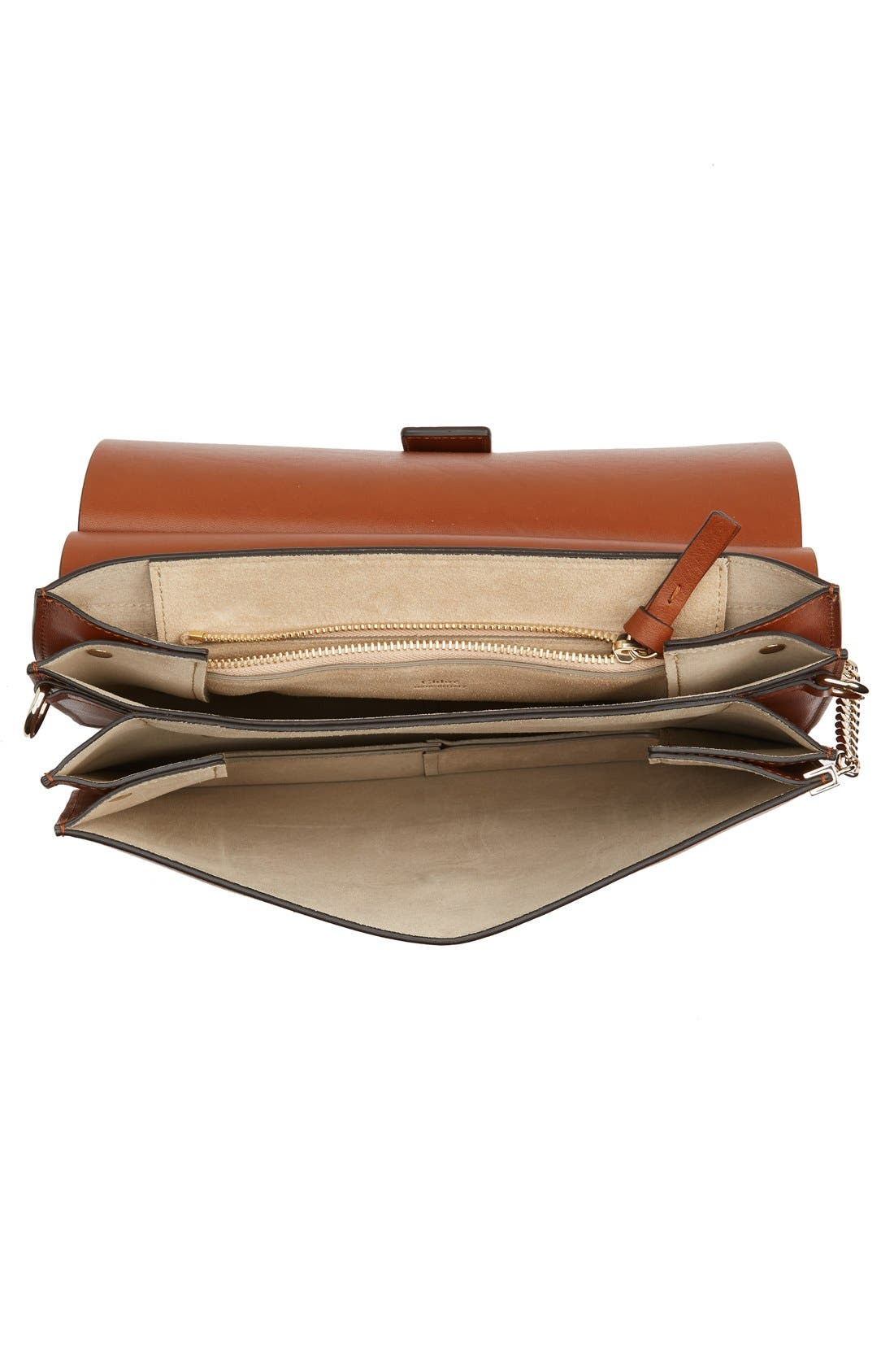 CHLOÉ, 'Faye' Leather & Suede Shoulder Bag, Alternate thumbnail 3, color, CLASSIC TOBACCO