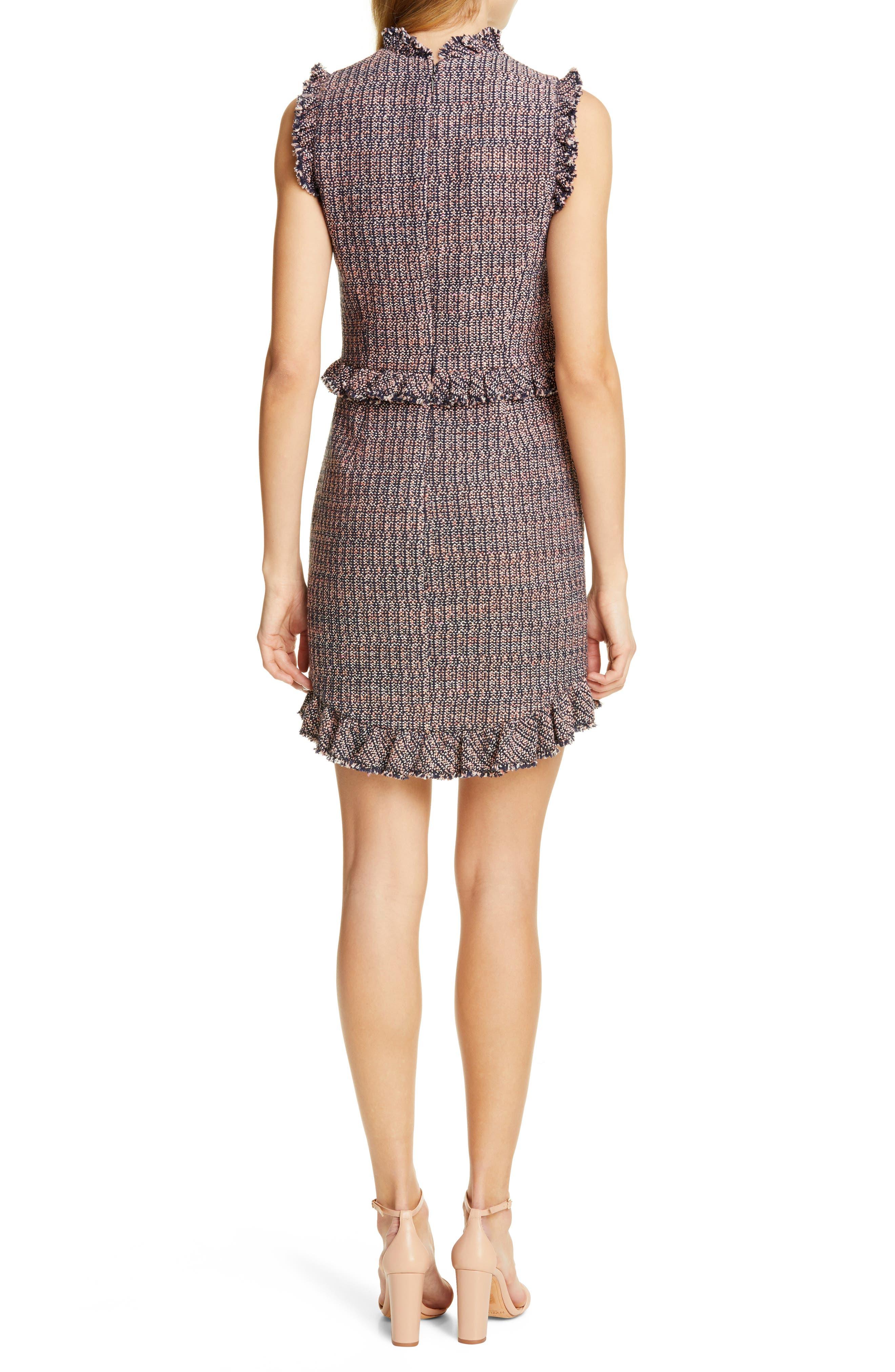 REBECCA TAYLOR, Frayed Ruffle Tweed Dress, Alternate thumbnail 2, color, PINK/ NAVY COMBO