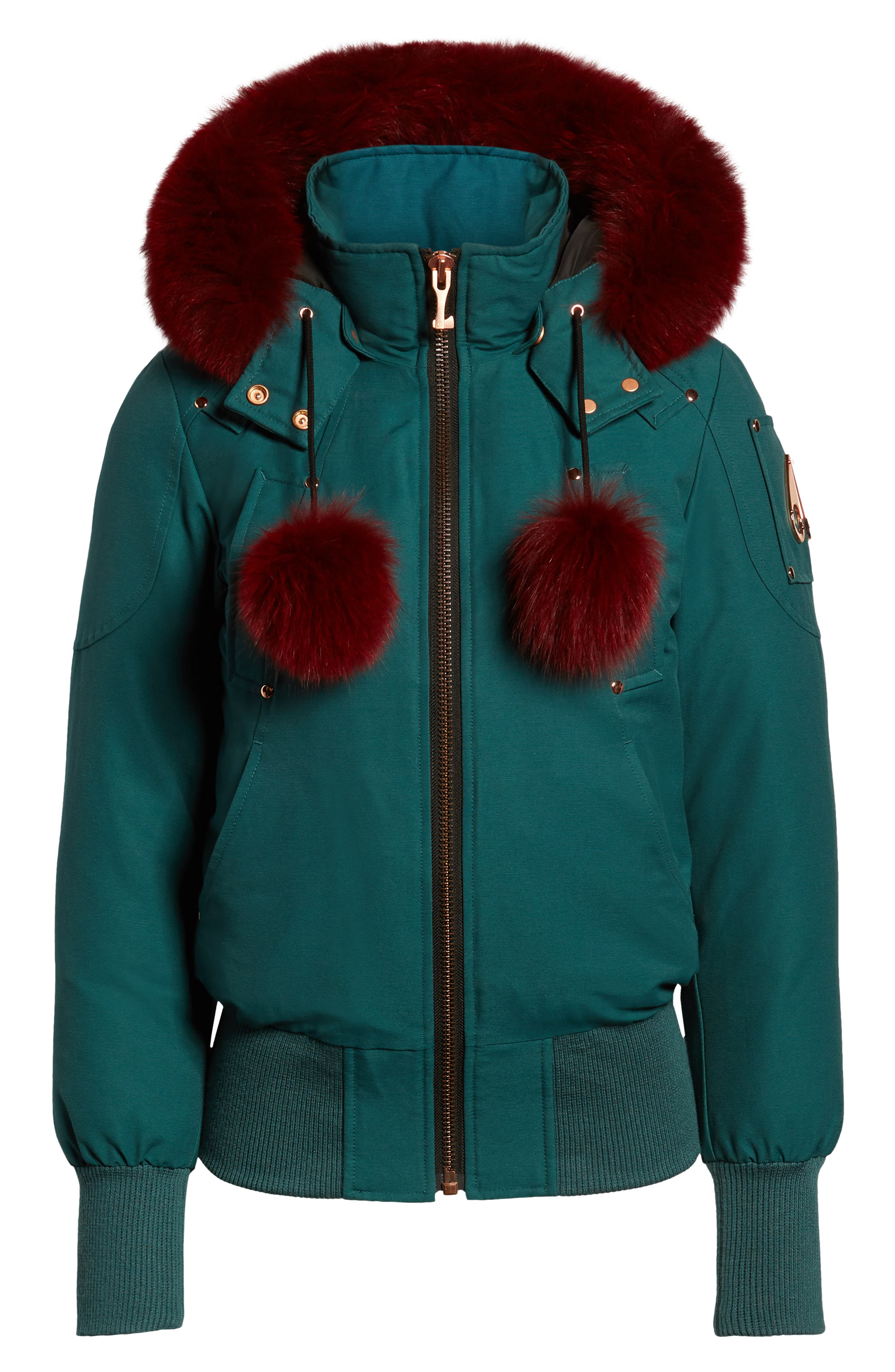 MOOSE KNUCKLES, Yorkdale Genuine Fox Fur Trim Down Jacket, Alternate thumbnail 6, color, 315
