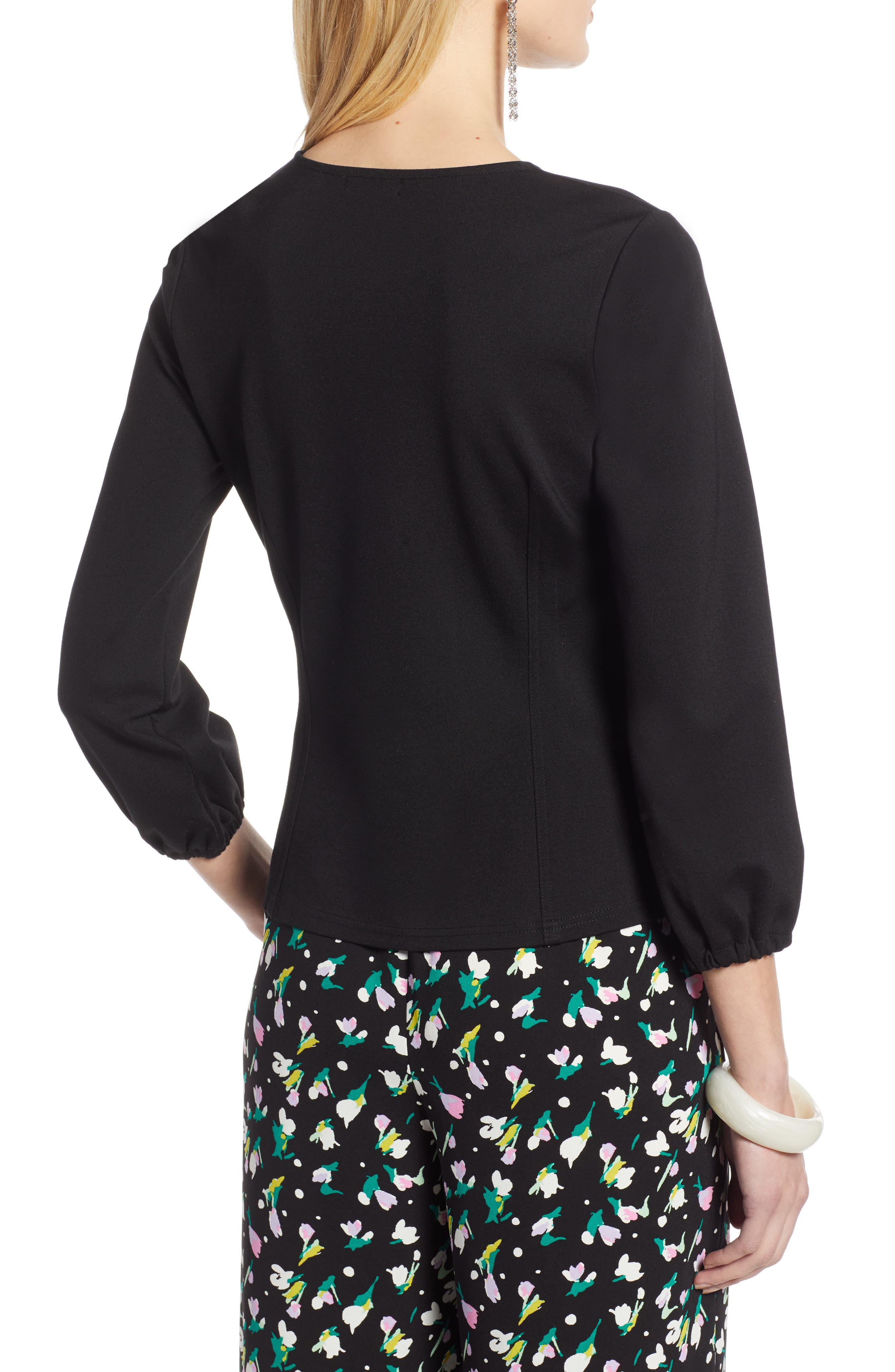 HALOGEN<SUP>®</SUP>, Structured Stretch Knit Top, Alternate thumbnail 2, color, BLACK