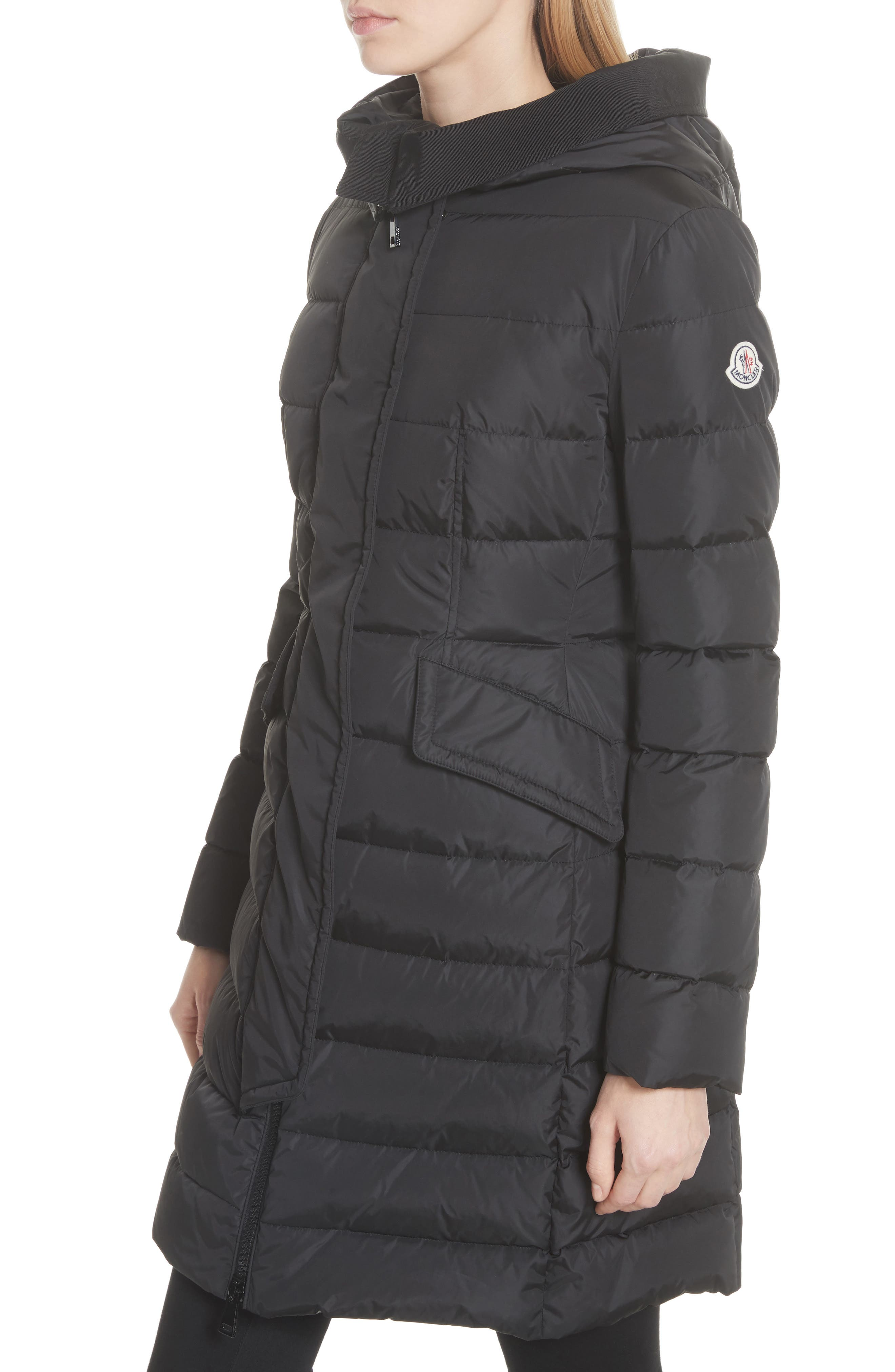 MONCLER, Grive Hooded Down Coat, Alternate thumbnail 4, color, NAVY
