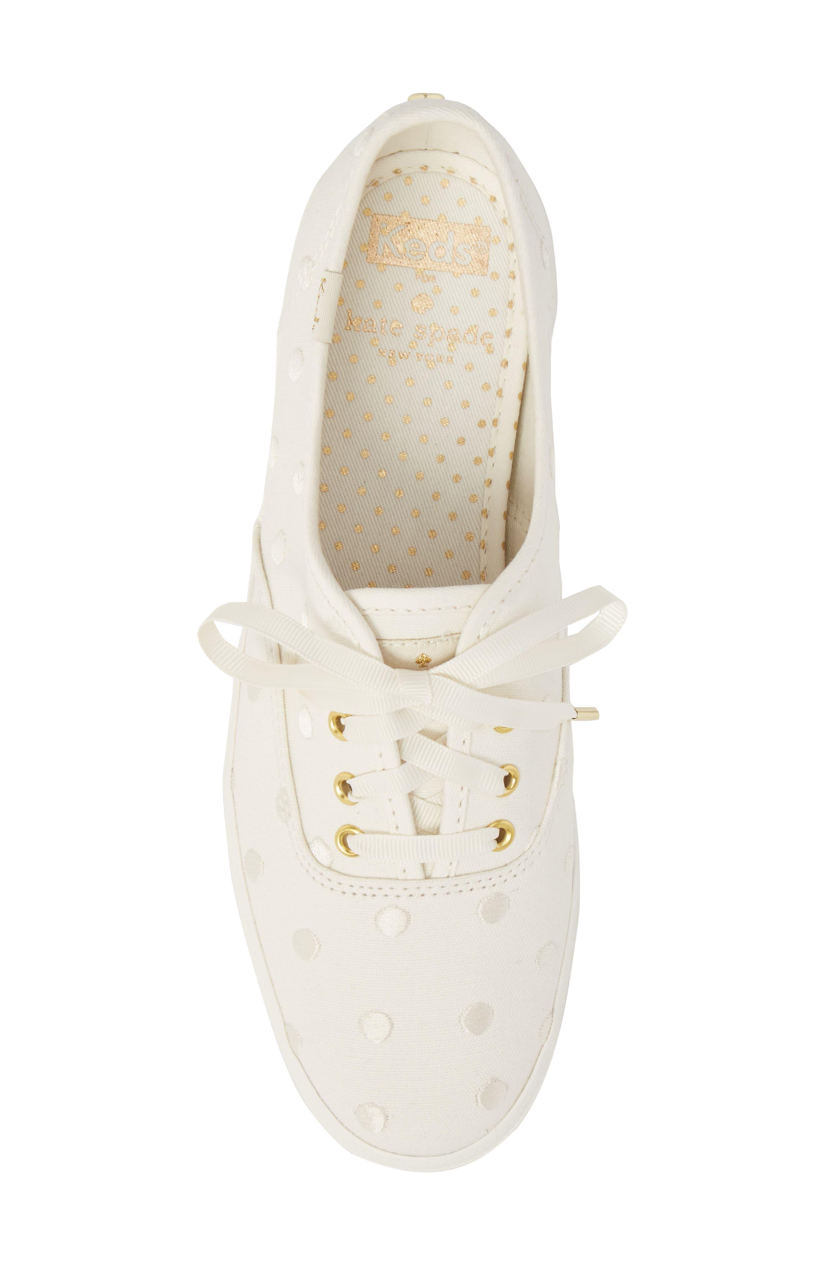 KEDS<SUP>®</SUP> FOR KATE SPADE NEW YORK, champion dancing dot sneaker, Alternate thumbnail 5, color, WHITE