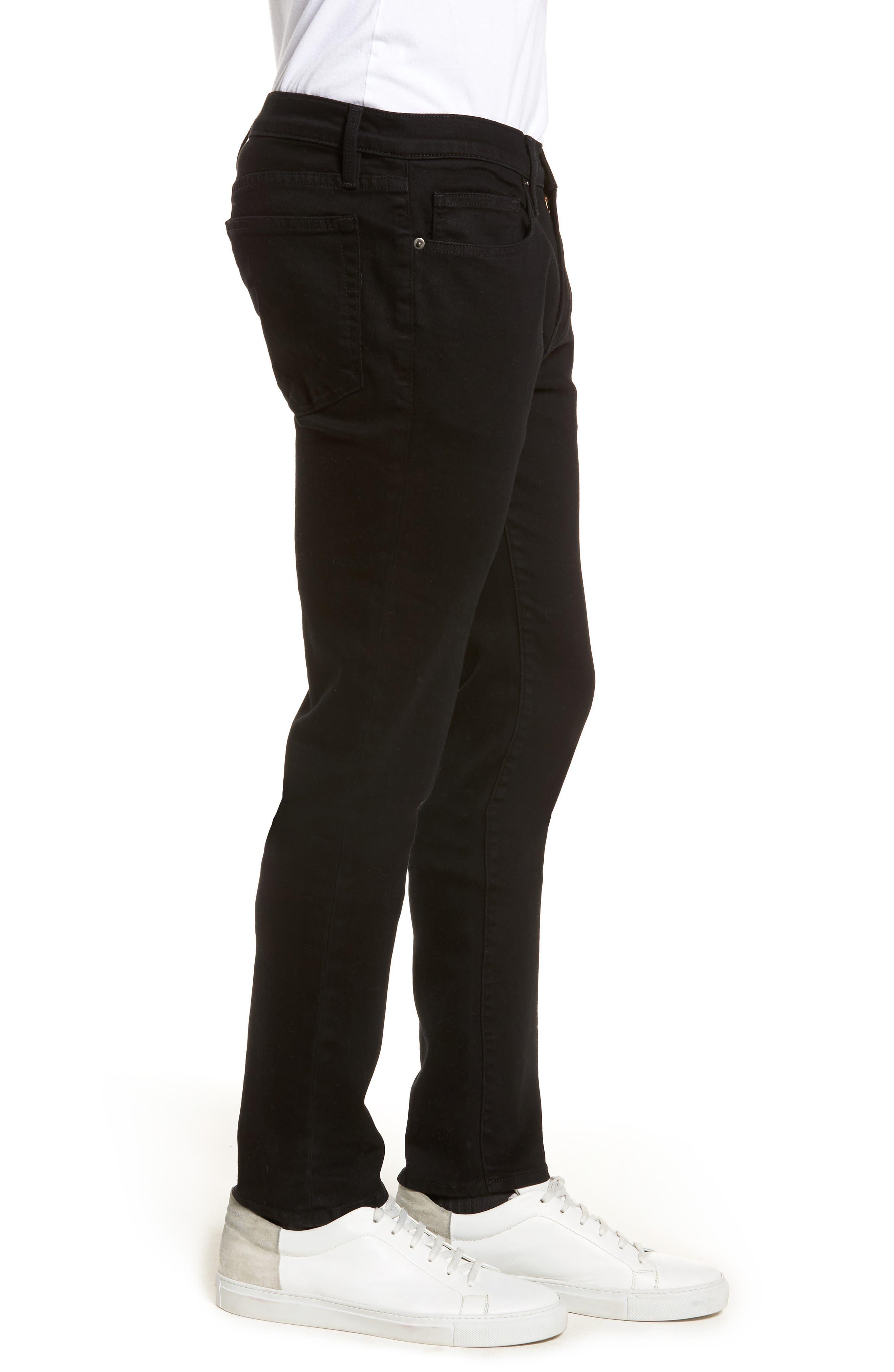 FRAME, L'Homme Skinny Fit Jeans, Alternate thumbnail 4, color, NOIR