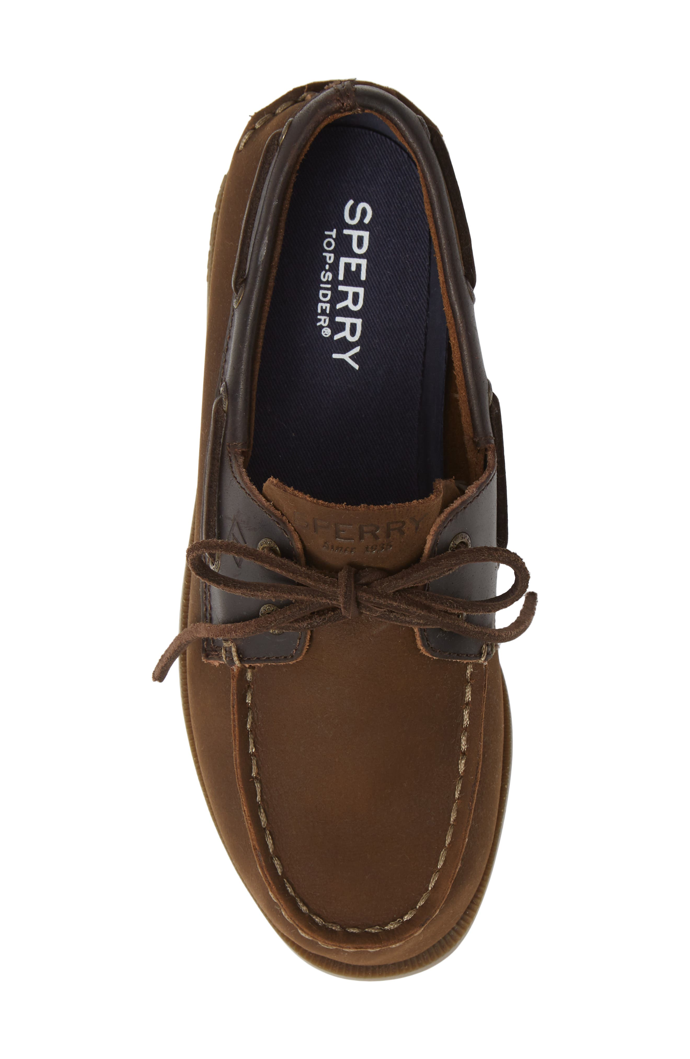 SPERRY KIDS, 'Authentic Original' Boat Shoe, Alternate thumbnail 5, color, BROWN BUCK LEATHER