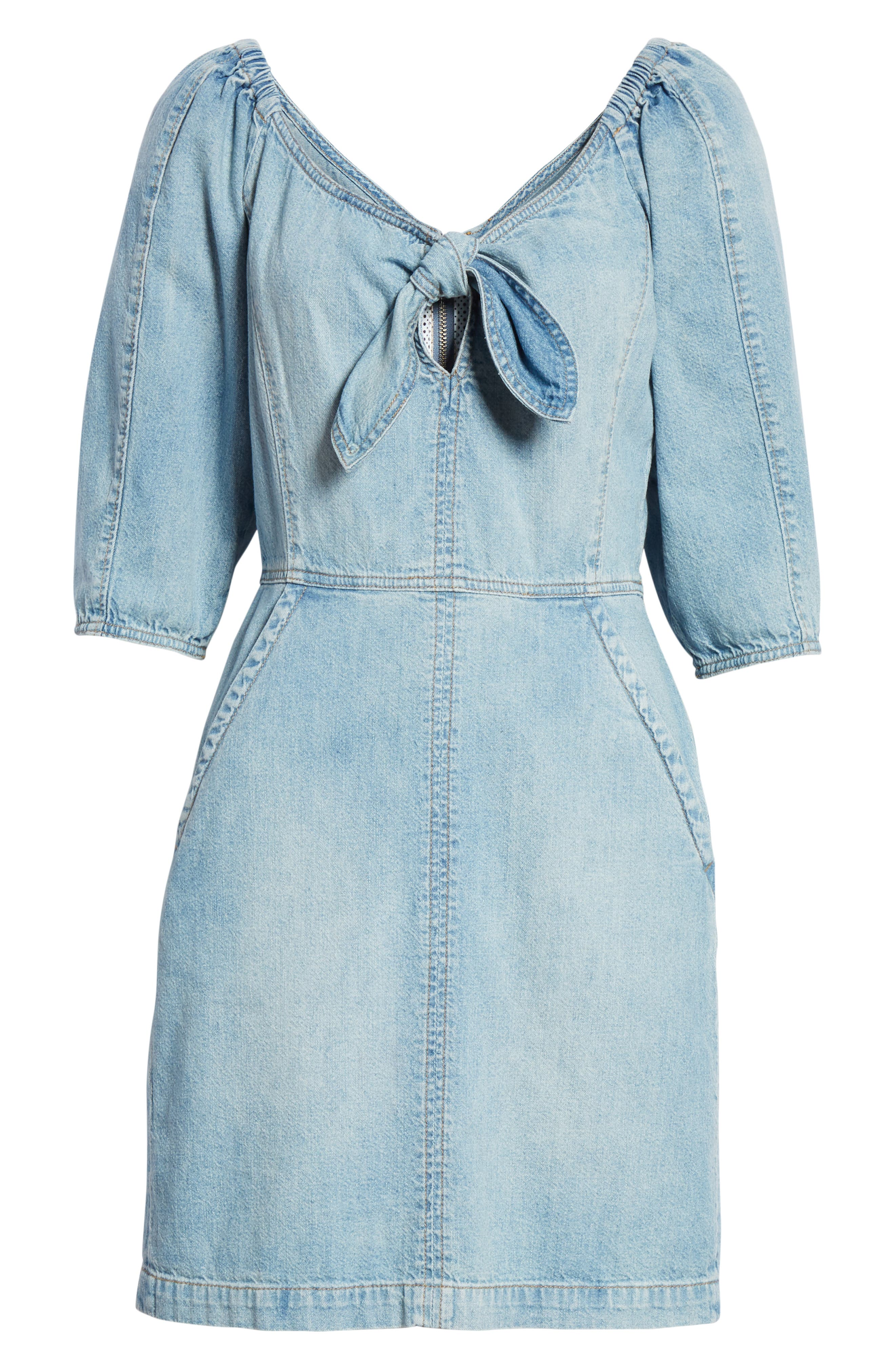 LA VIE REBECCA TAYLOR, Tie Neck Denim Dress, Alternate thumbnail 6, color, FORGET ME NOT WASH
