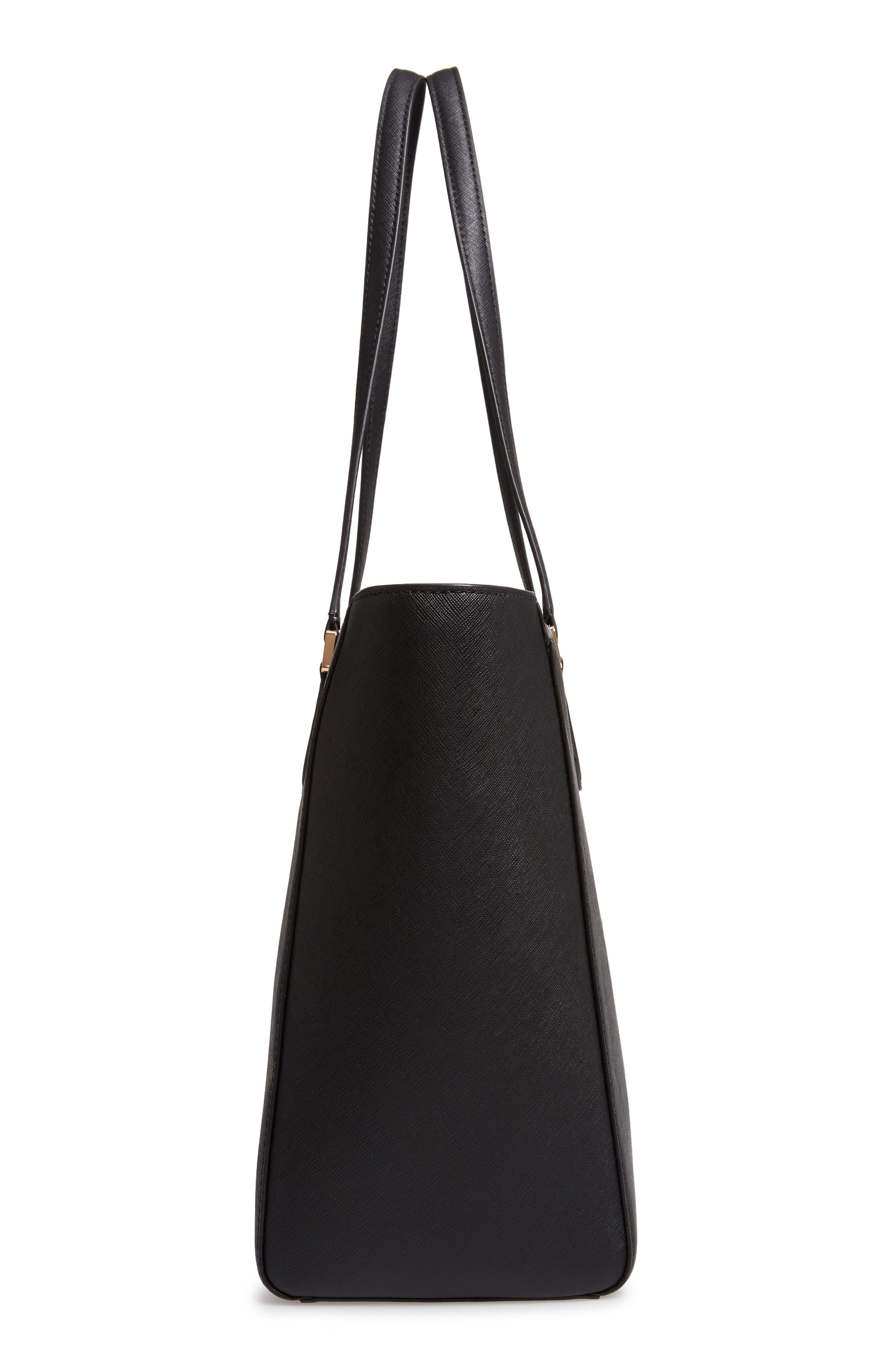 TORY BURCH, Robinson Saffiano Leather Tote, Alternate thumbnail 6, color, BLACK