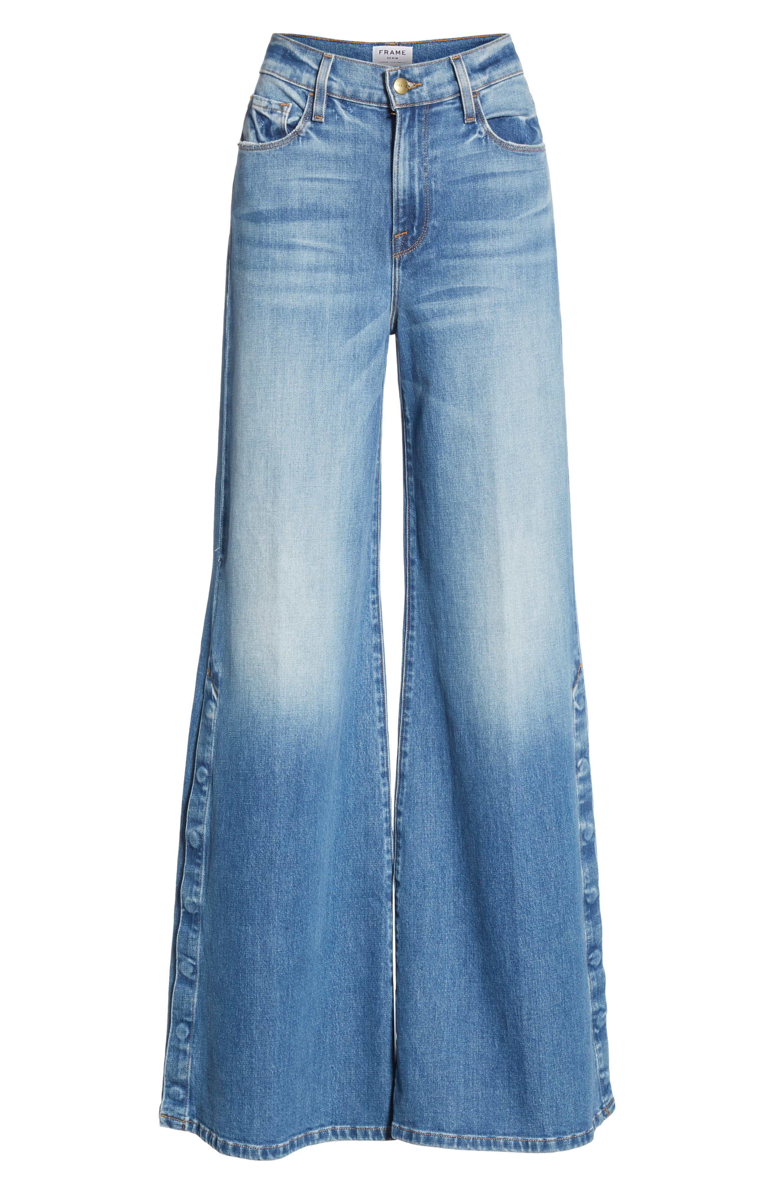 FRAME, Le Palazzo Snap Away Hem Wide Leg Jeans, Alternate thumbnail 6, color, 420