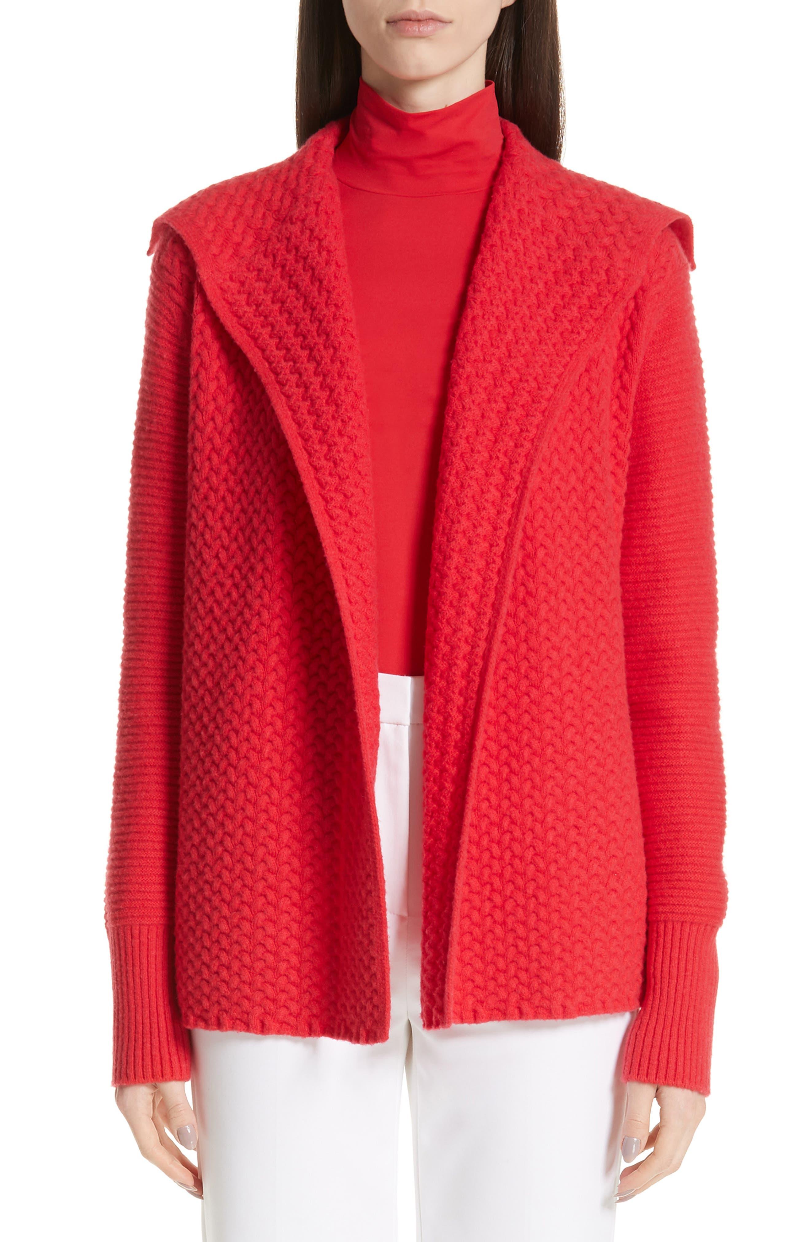 ST. JOHN COLLECTION Cable Knit Cardigan, Main, color, CRIMSON