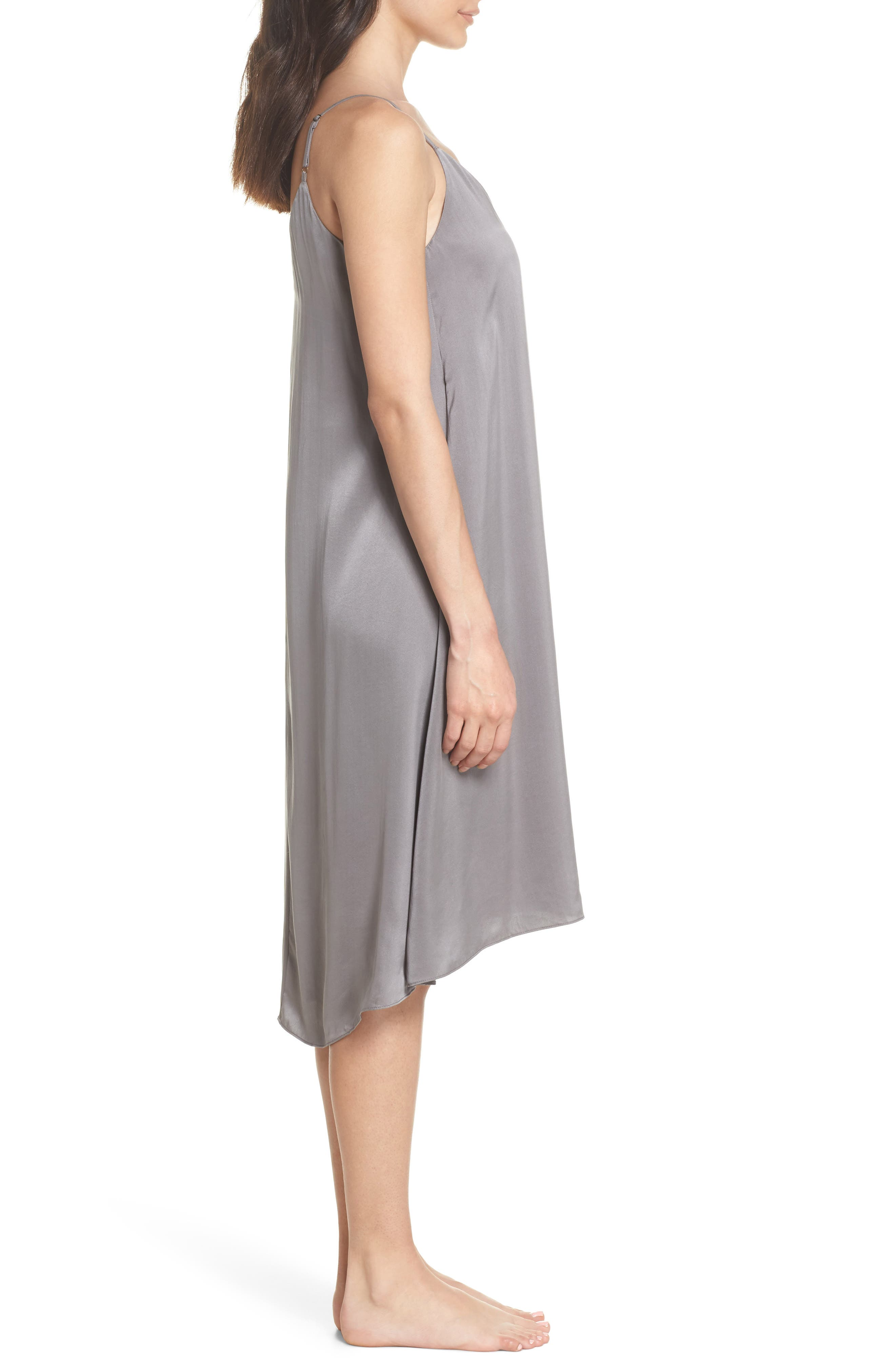 PAPINELLE, Silk Nightgown, Alternate thumbnail 3, color, CHARCOAL