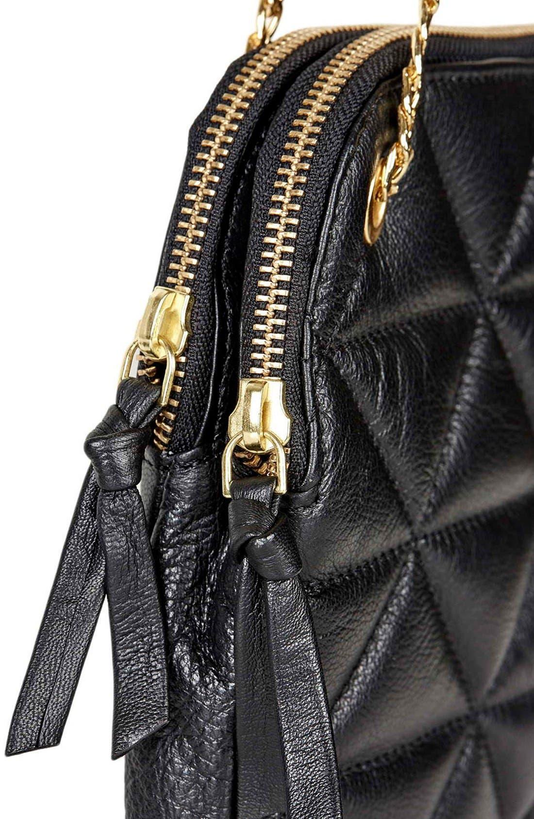 TOPSHOP, Quilted Leather Shoulder Bag, Alternate thumbnail 2, color, 001