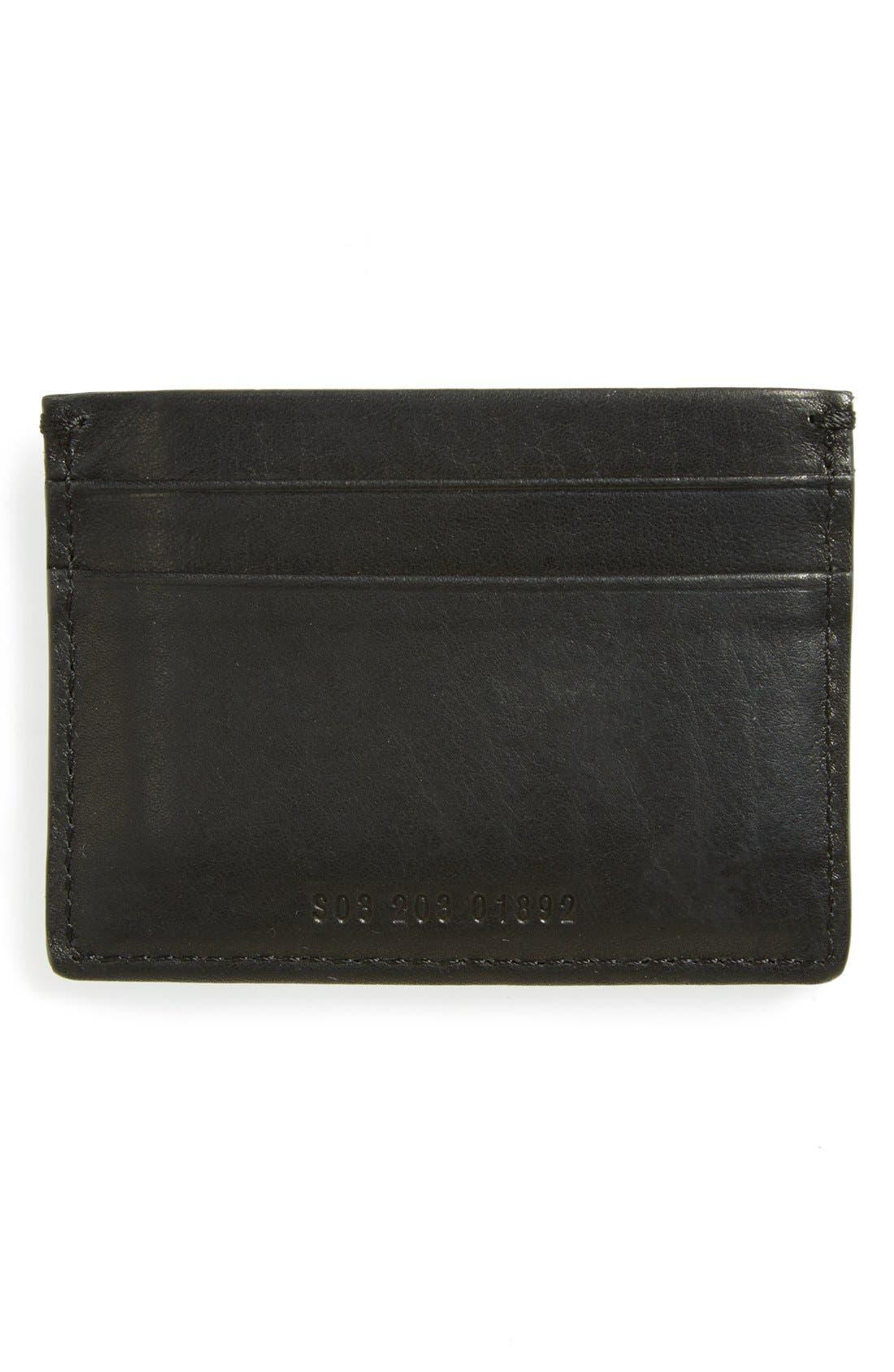 SHINOLA, Leather Card Case, Alternate thumbnail 2, color, BLACK