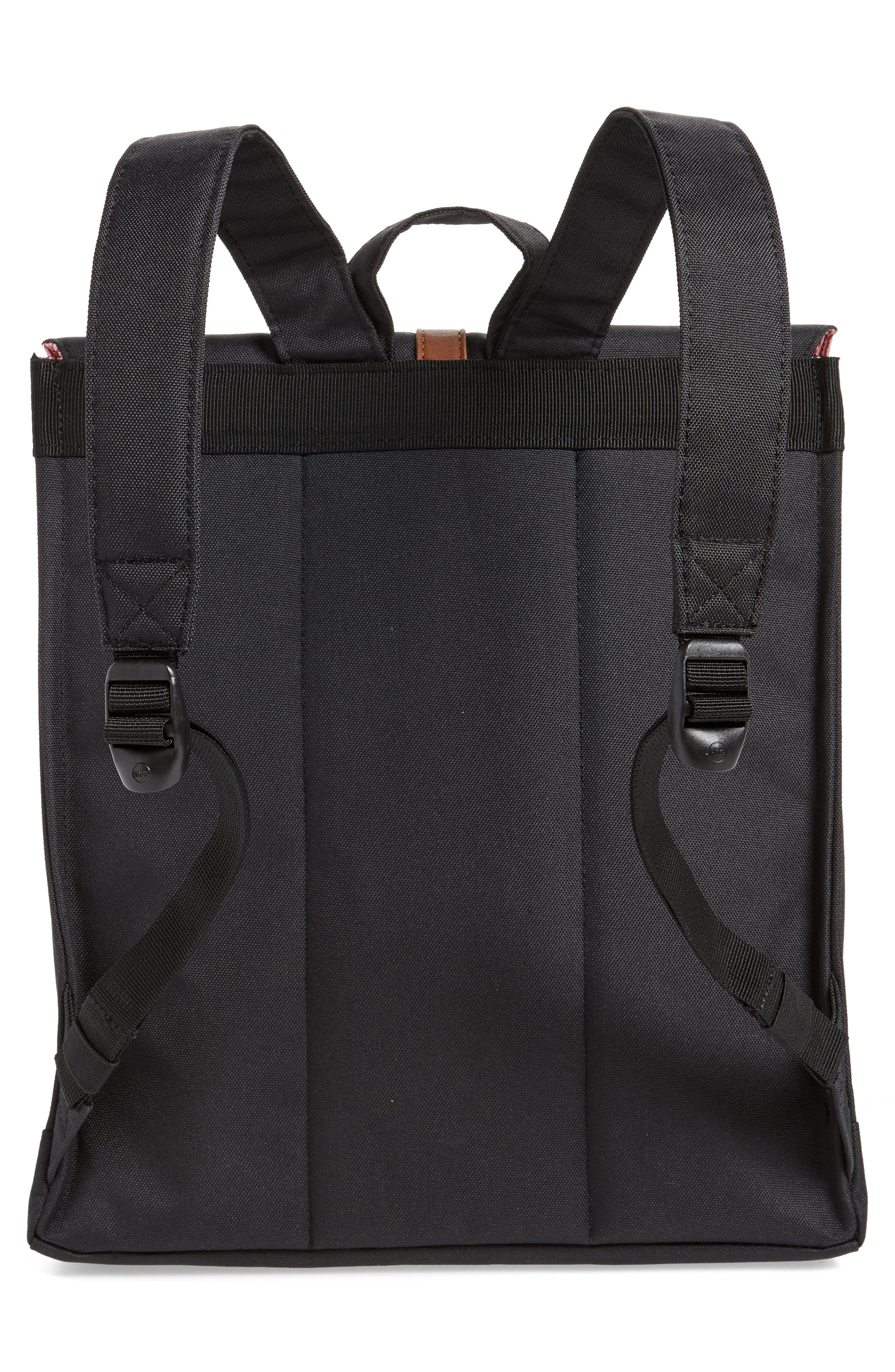 HERSCHEL SUPPLY CO., City Mid Volume Backpack, Alternate thumbnail 4, color, BLACK/ TAN SYNTHETIC LEATHER
