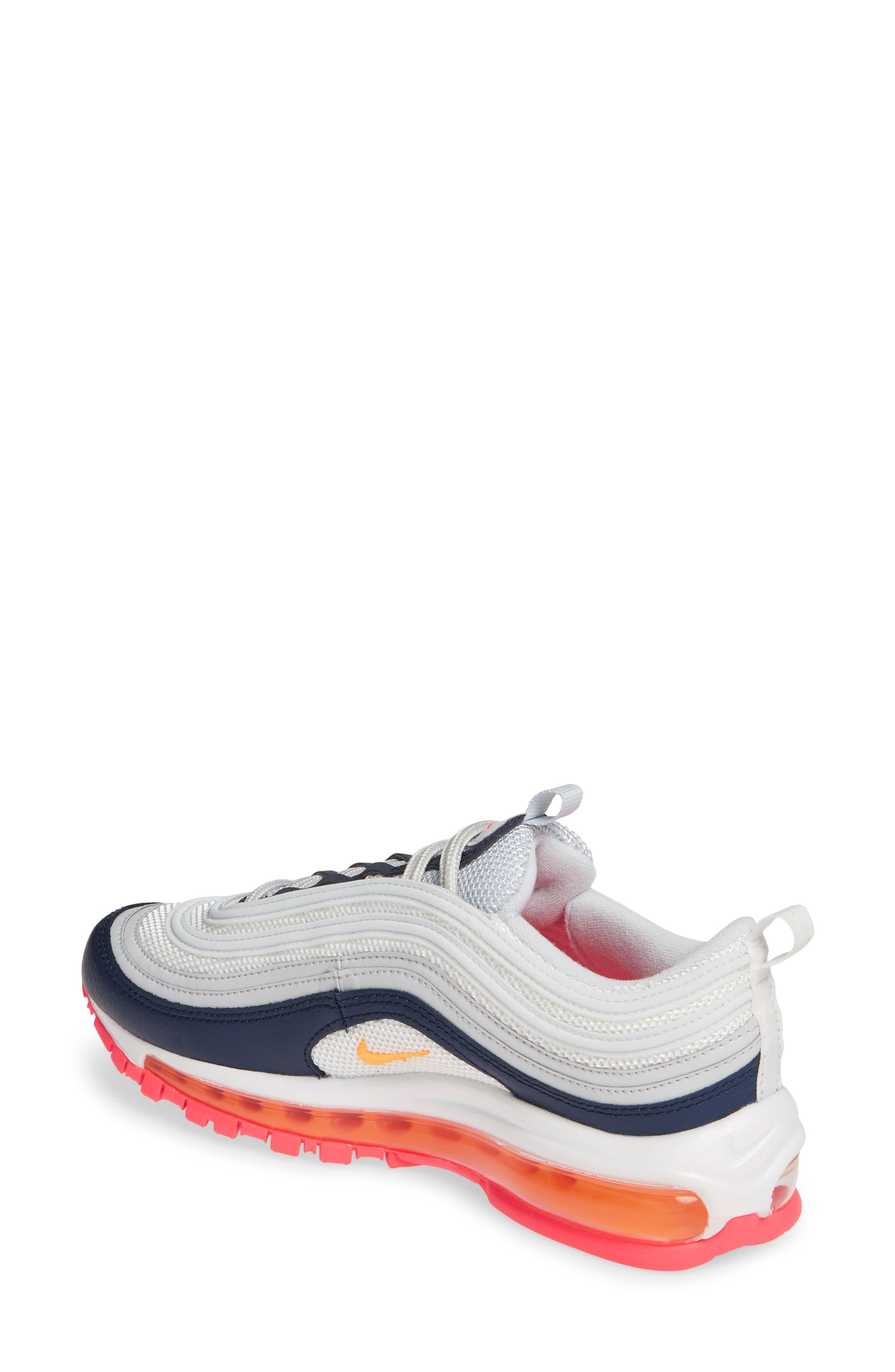 NIKE, Air Max 97 Sneaker, Alternate thumbnail 2, color, PLATINUM/ LASER ORANGE/ NAVY