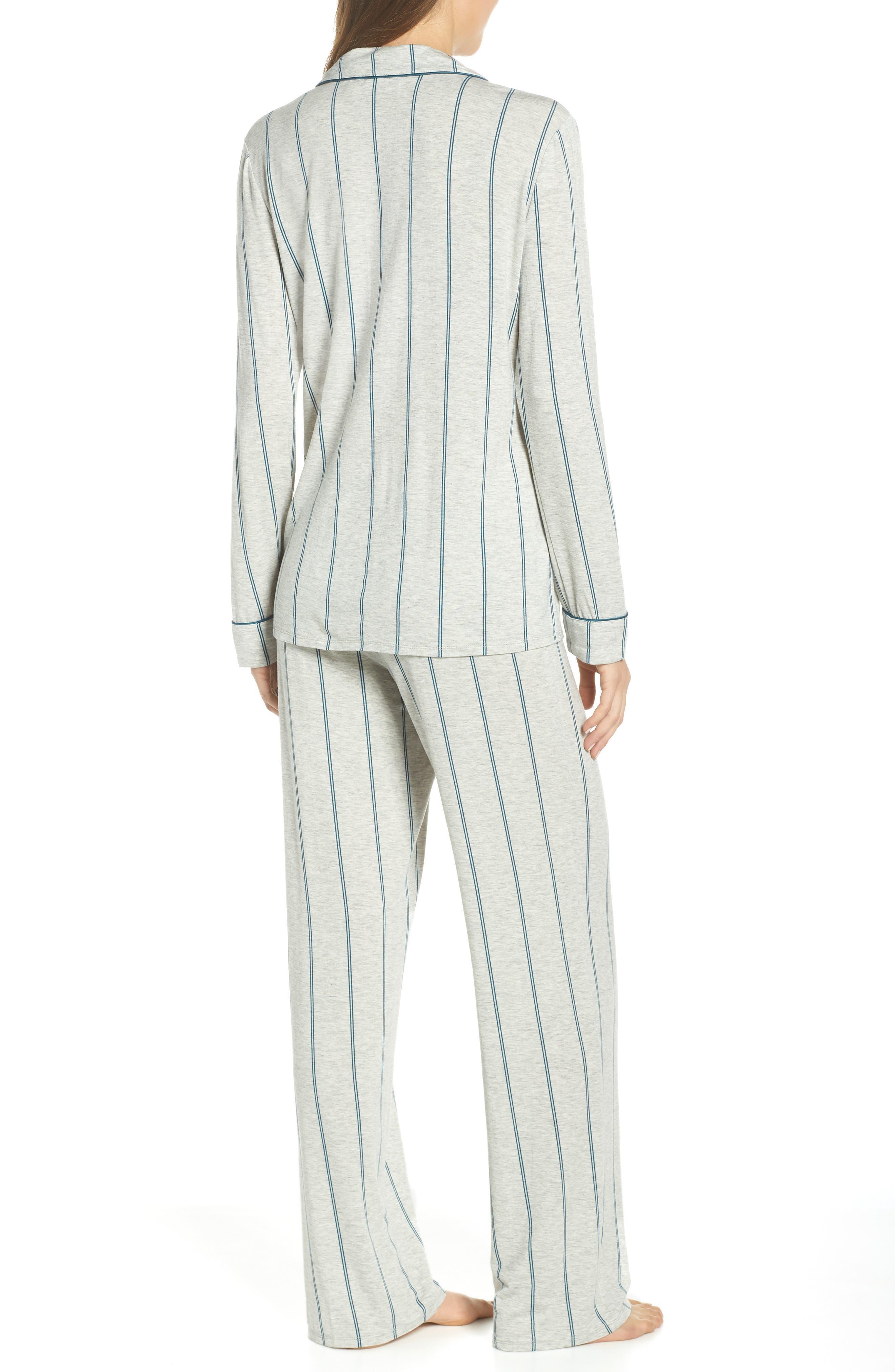 NORDSTROM LINGERIE, Moonlight Pajamas, Alternate thumbnail 2, color, GREY PEARL HEATHER MICROSTRIPE