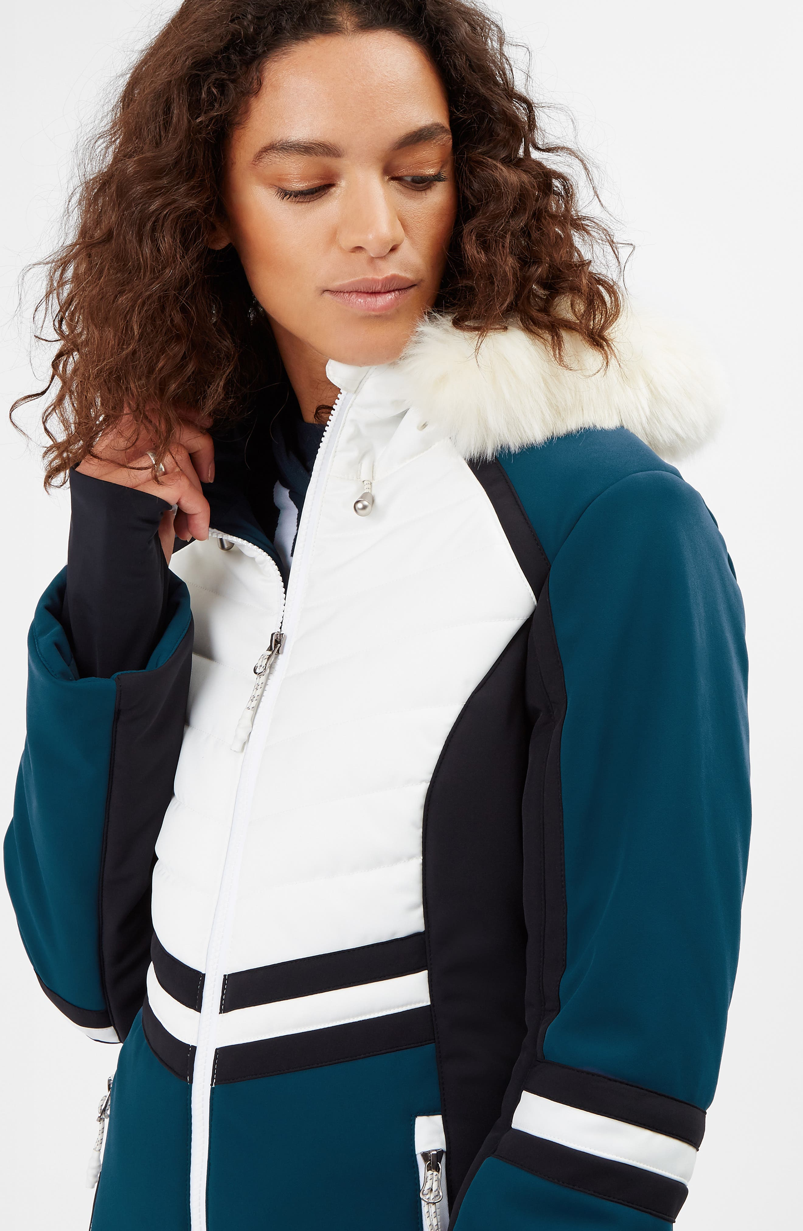 SWEATY BETTY, Method Hybrid Waterproof Ski Jacket with Faux Fur, Alternate thumbnail 9, color, BEETLE BLUE COLOUR BLOCK