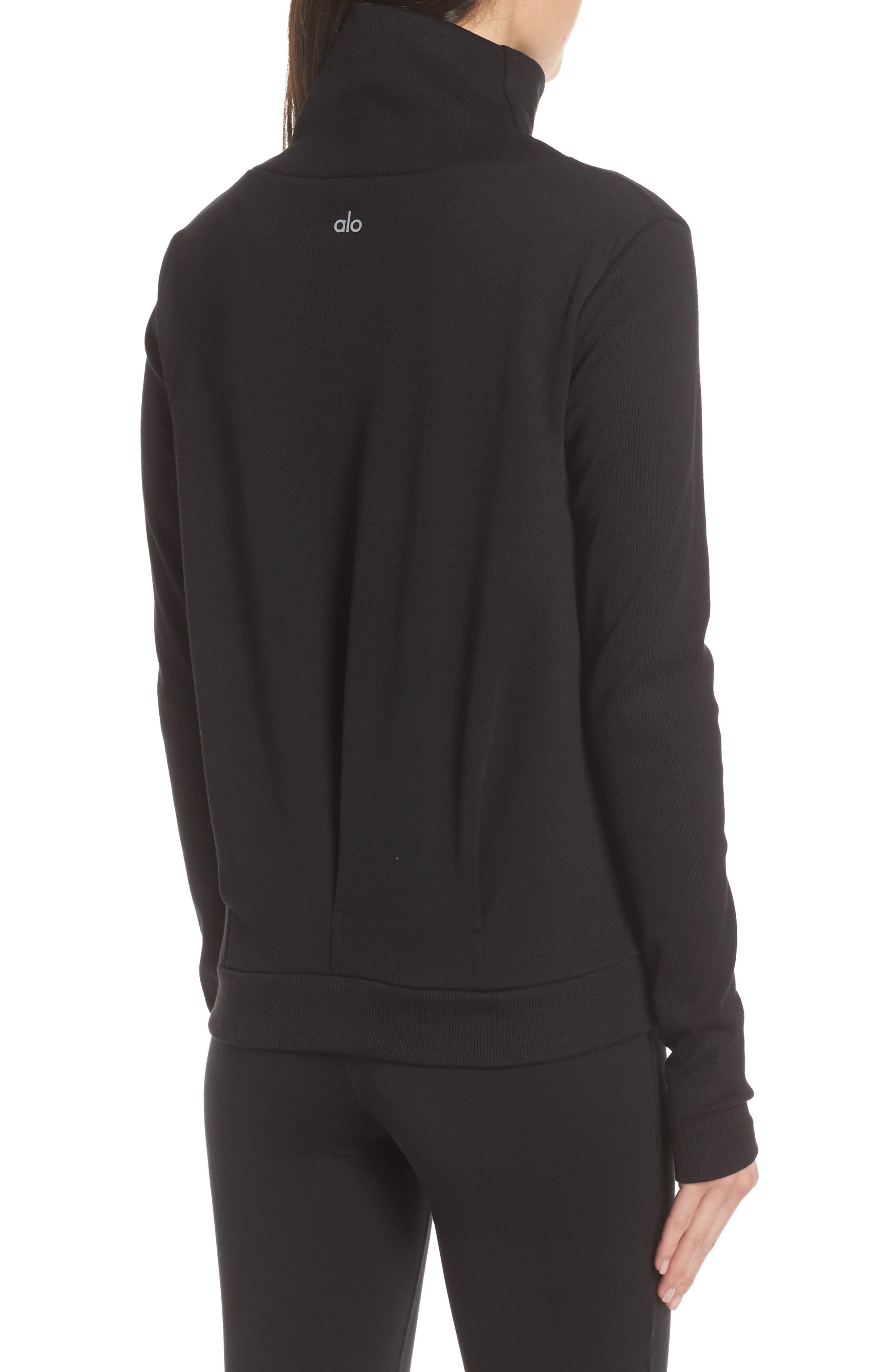 ALO, Clarity Long Sleeve Sweatshirt, Alternate thumbnail 2, color, BLACK