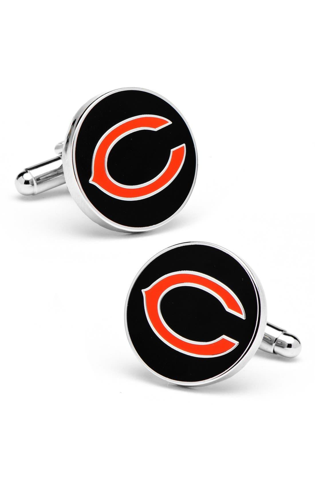 CUFFLINKS, INC., 'Chicago Bears' Cuff Links, Main thumbnail 1, color, BLACK/ ORANGE