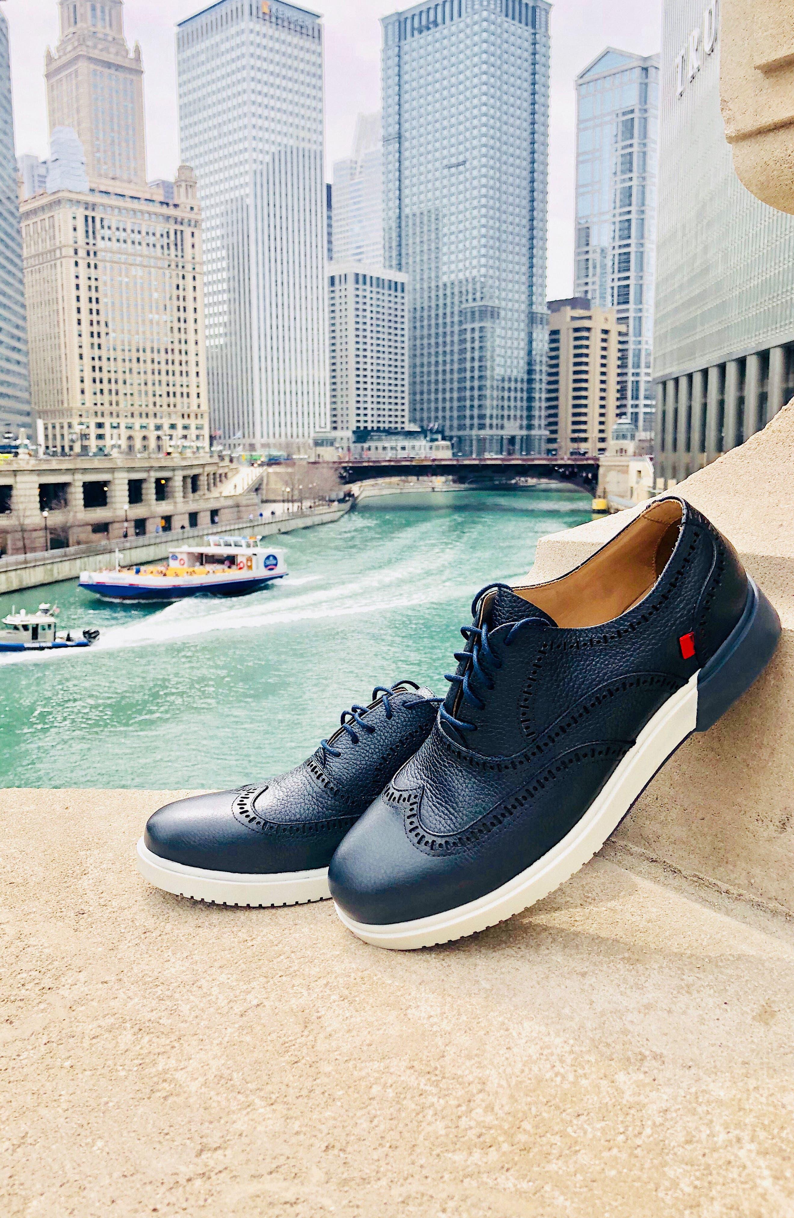 MARC JOSEPH NEW YORK, 5th Ave Wingtip Sneaker, Alternate thumbnail 7, color, 001
