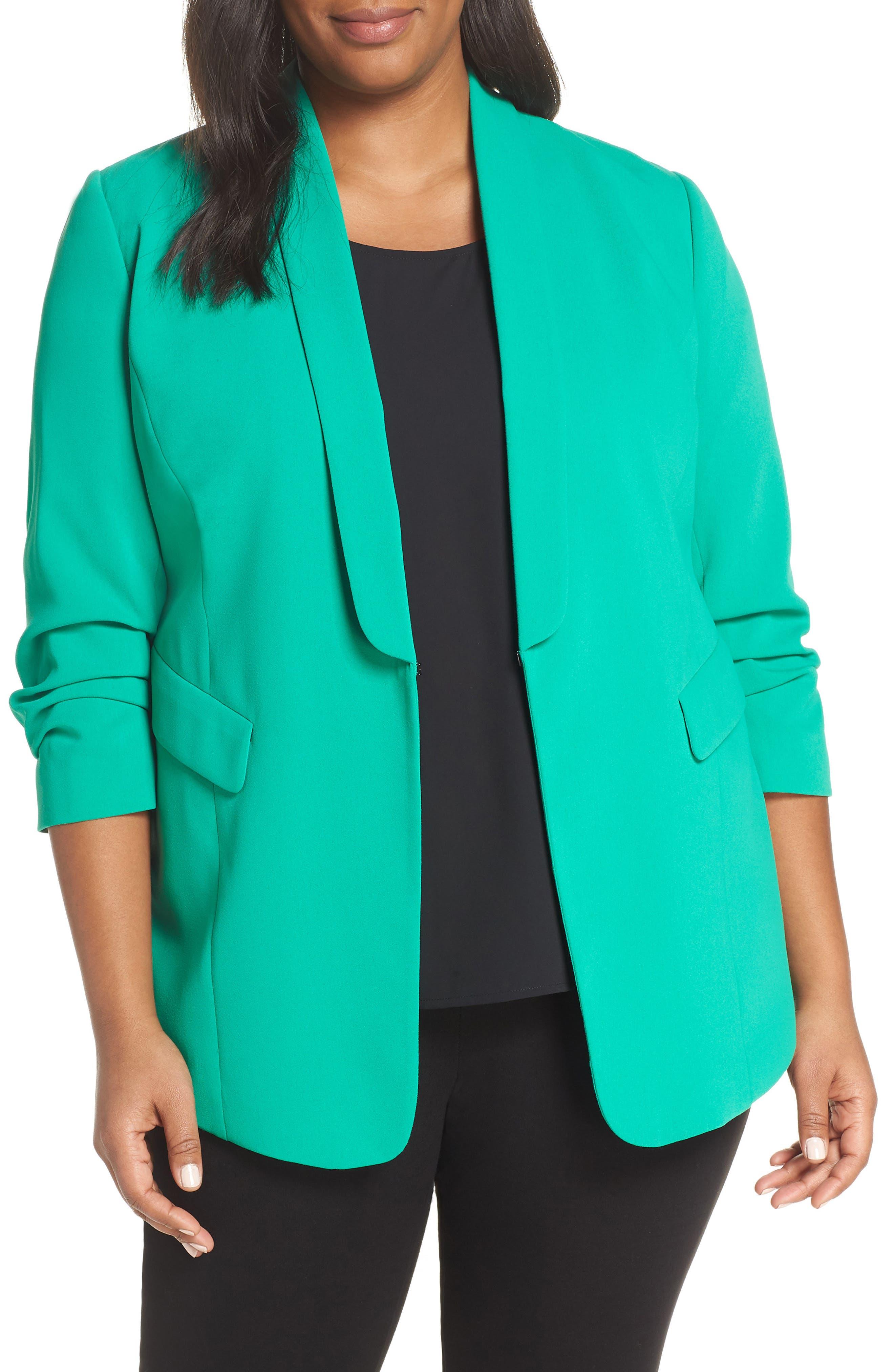 SEJOUR Gathered Sleeve Blazer, Main, color, GREEN PARAKEET