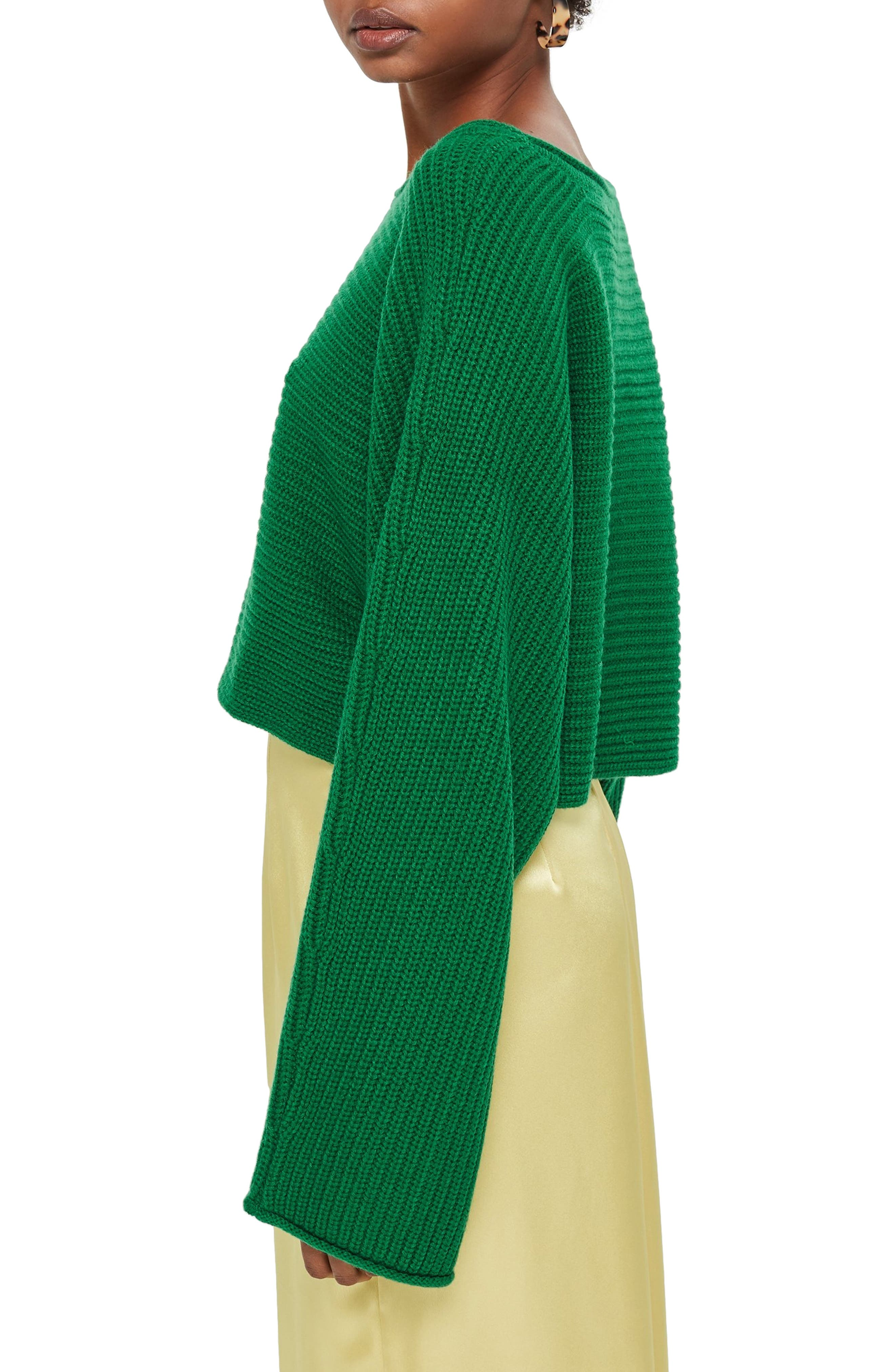 TOPSHOP, Roll Edge Crop Sweater, Alternate thumbnail 3, color, 300