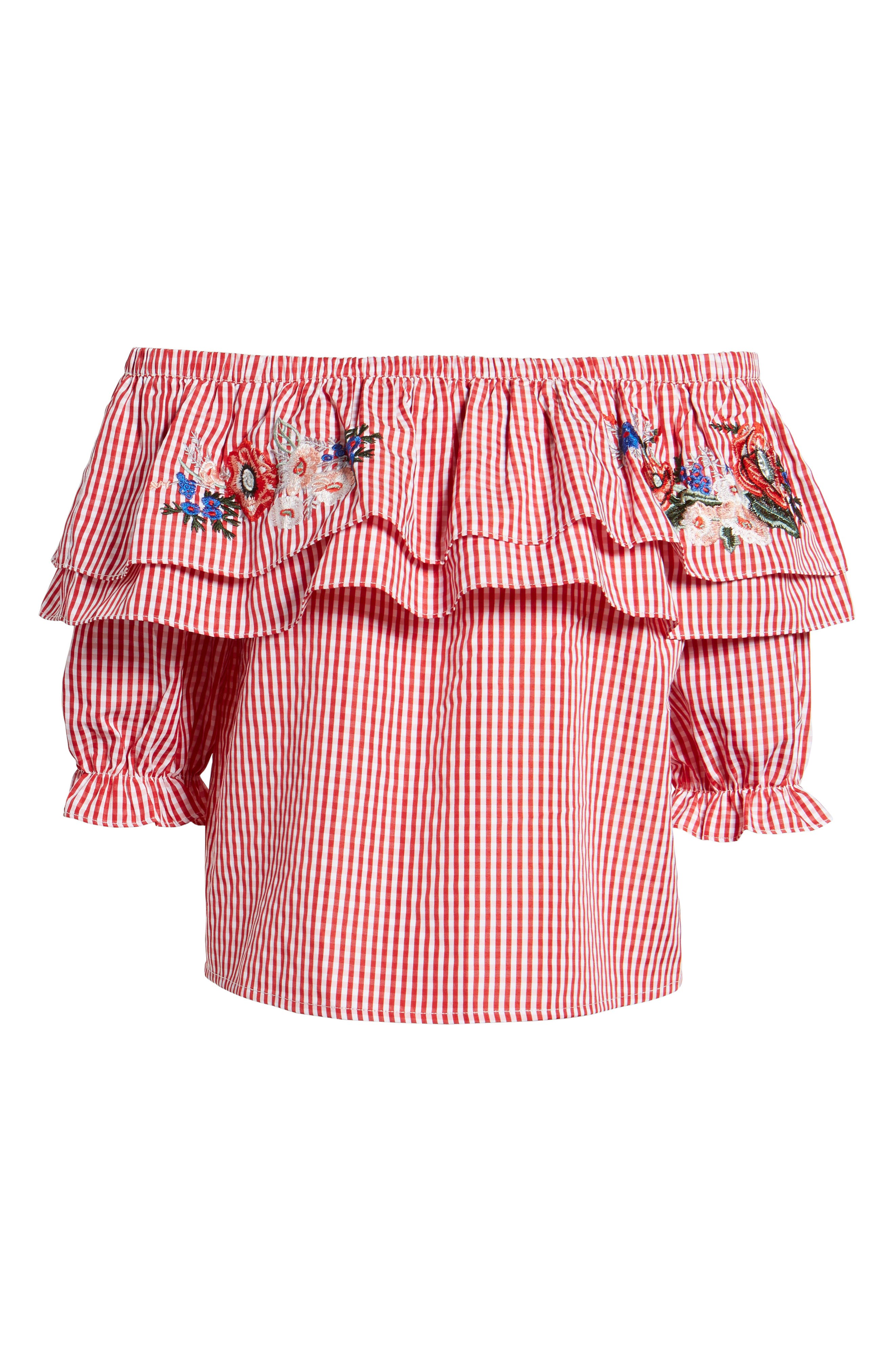 LOST + WANDER, Embroidered Gingham Off the Shoulder Top, Alternate thumbnail 6, color, 640
