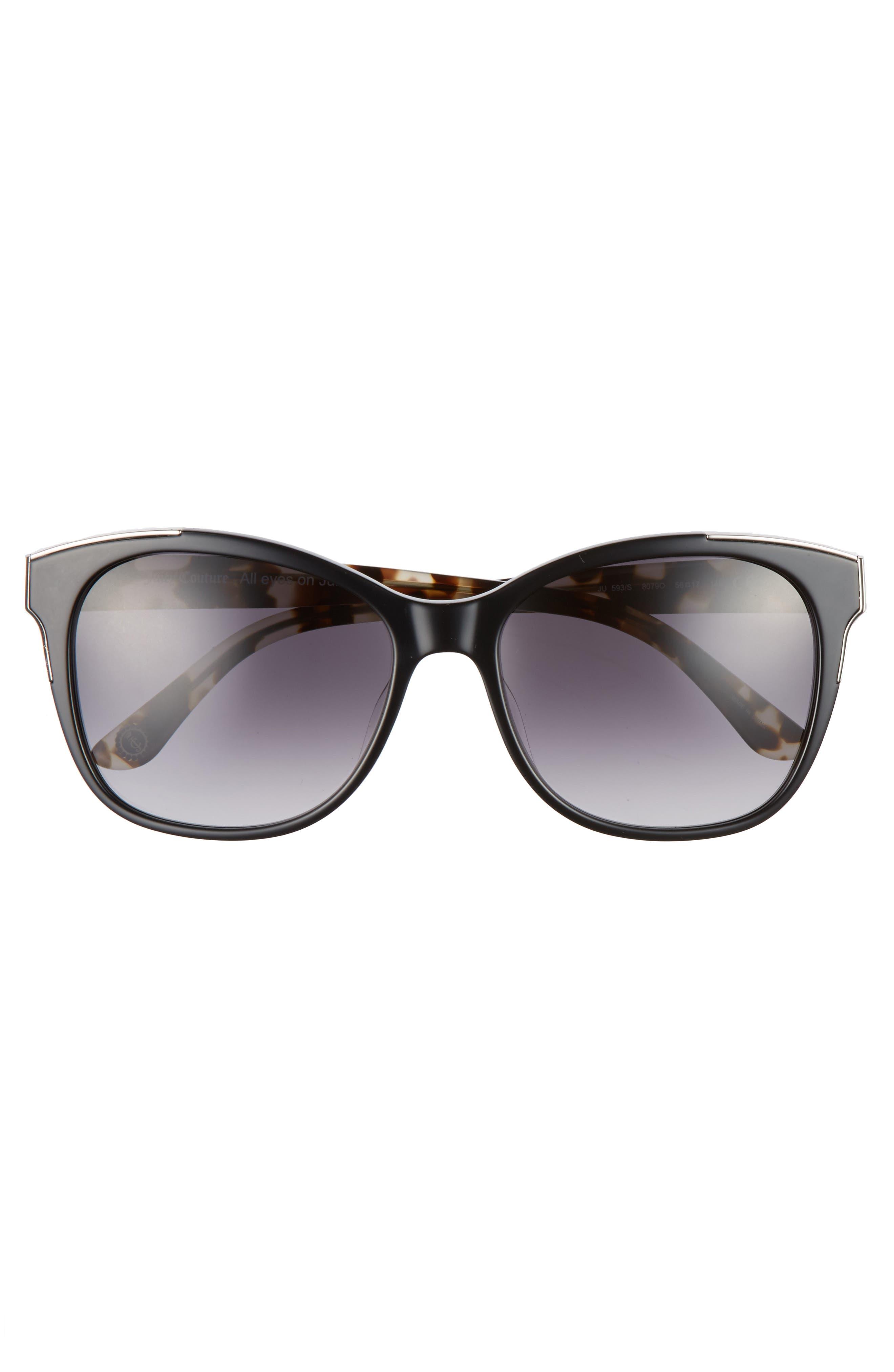 JUICY COUTURE, Black Label 56mm Cat Eye Sunglasses, Alternate thumbnail 3, color, 001