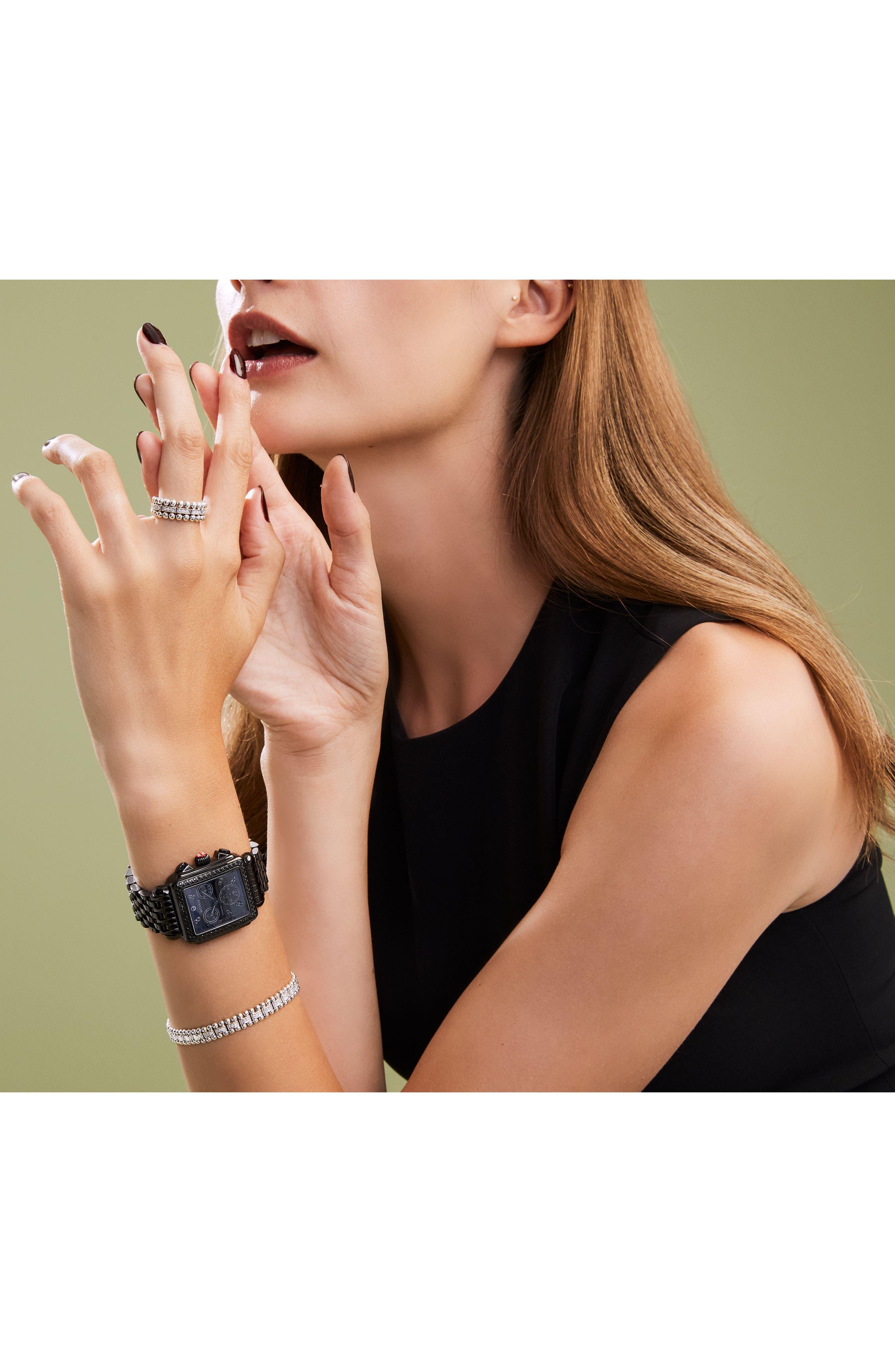 MICHELE, Deco Diamond Watch Head & Bracelet, 34mm x 35mm, Alternate thumbnail 4, color, BLACK