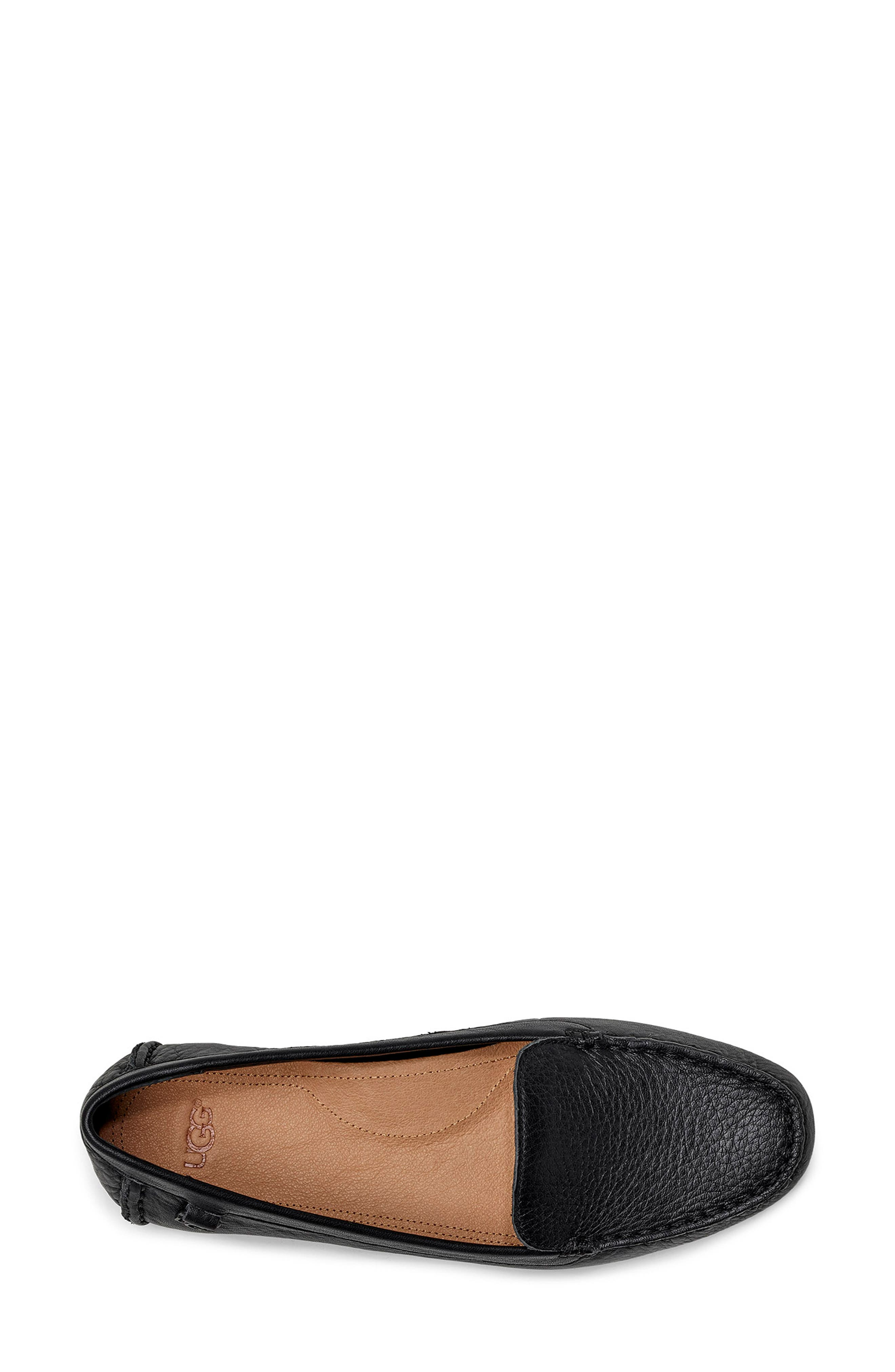 UGG<SUP>®</SUP>, Flores Driving Loafer, Alternate thumbnail 4, color, BLACK LEATHER