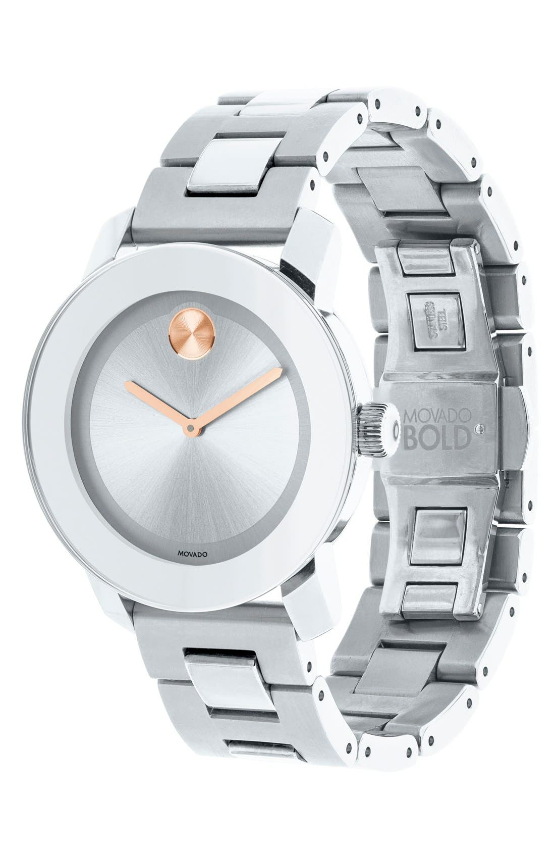 MOVADO, 'Bold' Round Bracelet Watch, 36mm, Alternate thumbnail 6, color, SILVER