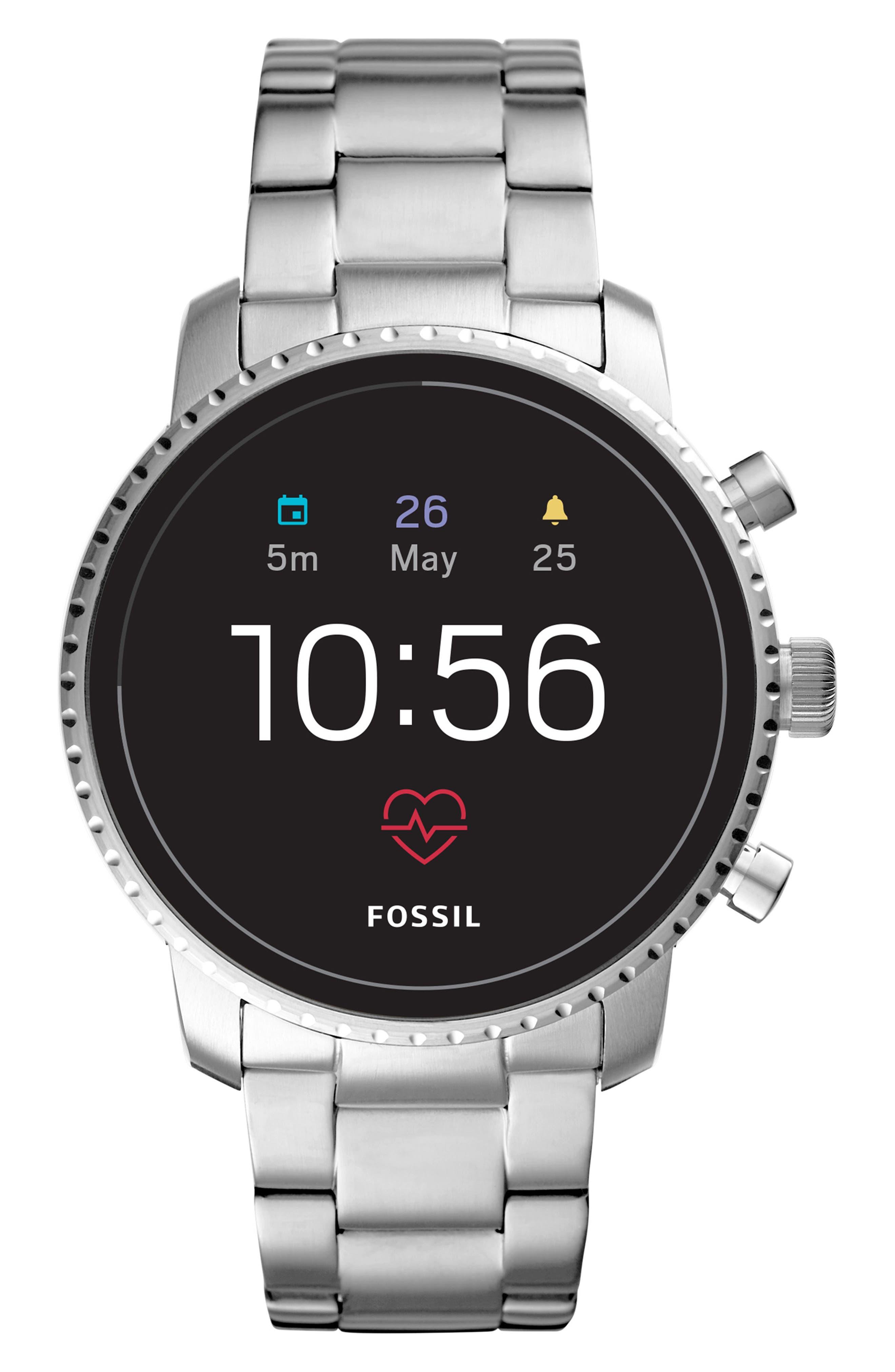 FOSSIL, Q Explorist HR Gen 4 Bracelet Strap Smart Watch, 45mm, Main thumbnail 1, color, SILVER